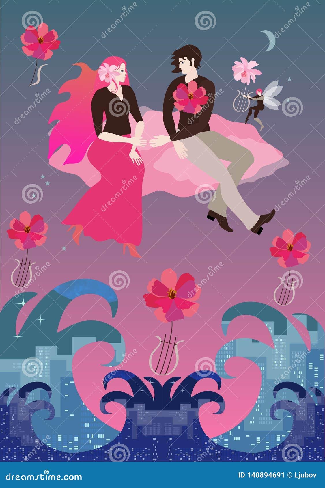 Flickvännen med ursnyggt rött hår och pojkvännen som sitter på det rosa molnet, flyger i inställningssol över att rasa havet