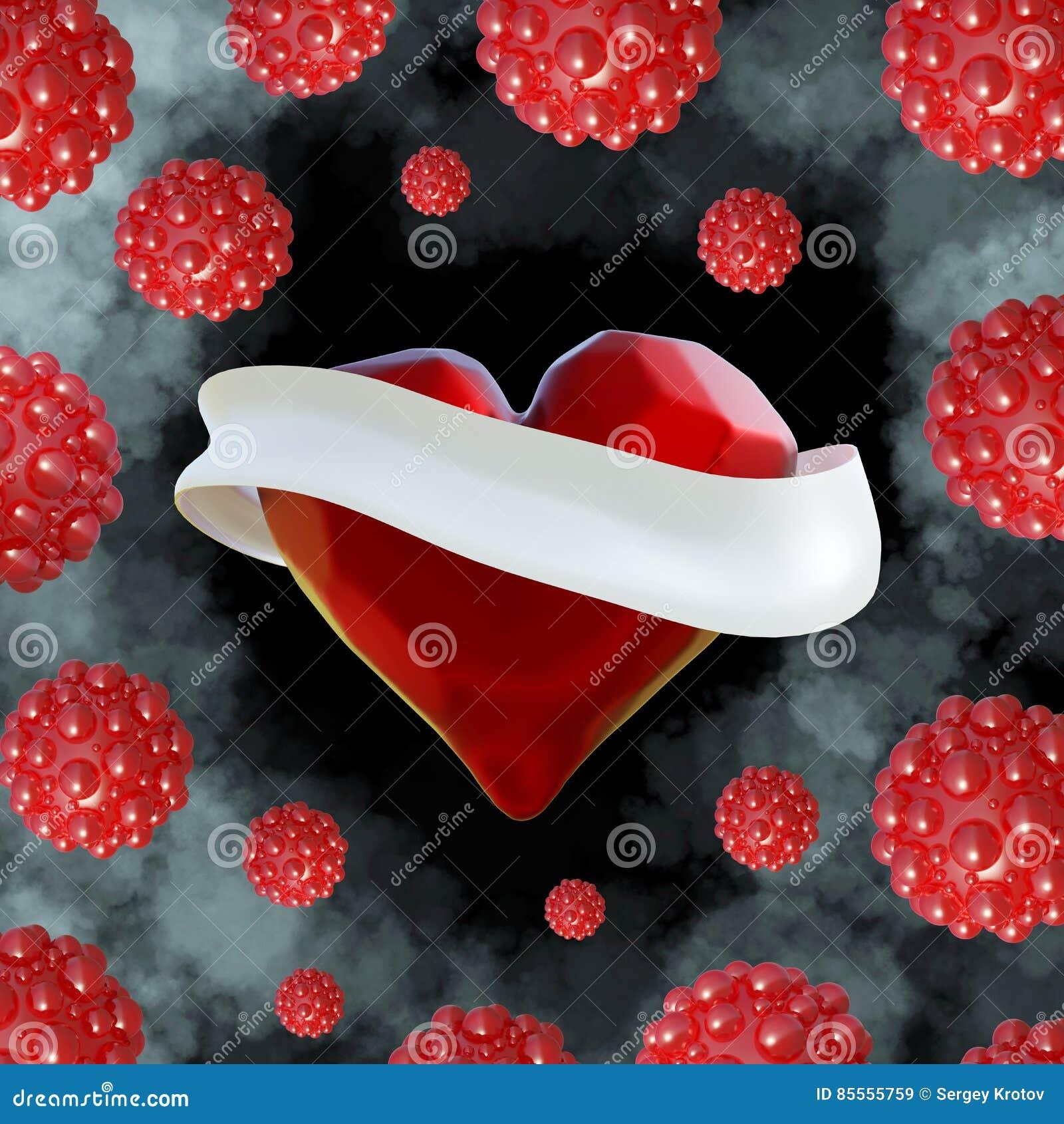 Fliegendes Rot hackte Herz mit dem weißen Band und den molekularen Bereichen herum Copyspace für Illustration des Text Valentinsg