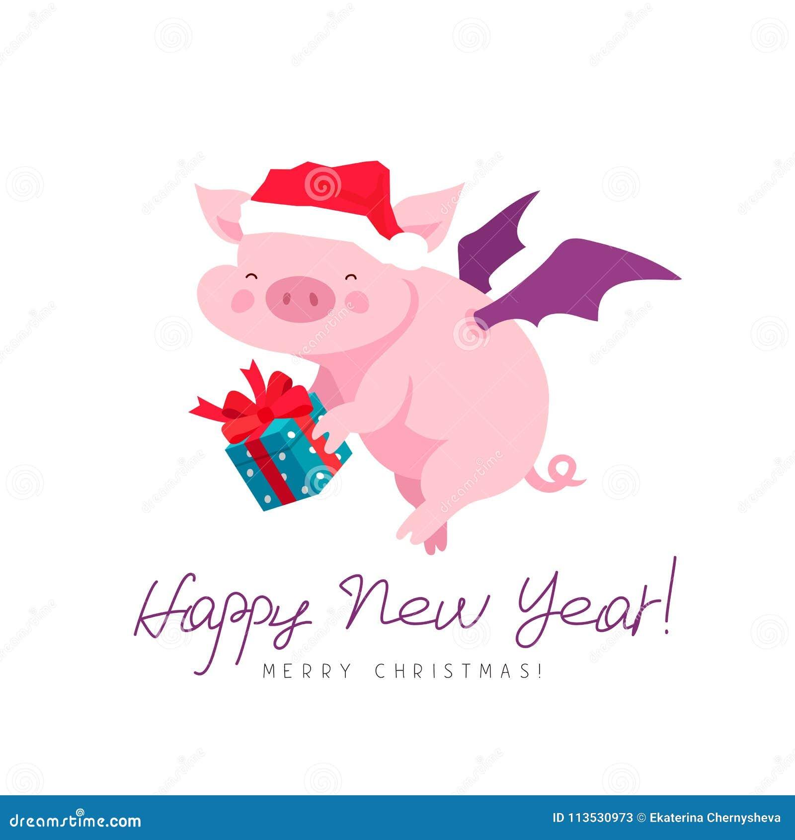 Fliegenschwein In Einem Hut Des Neuen Jahres Mit Einer Geschenkbox ...