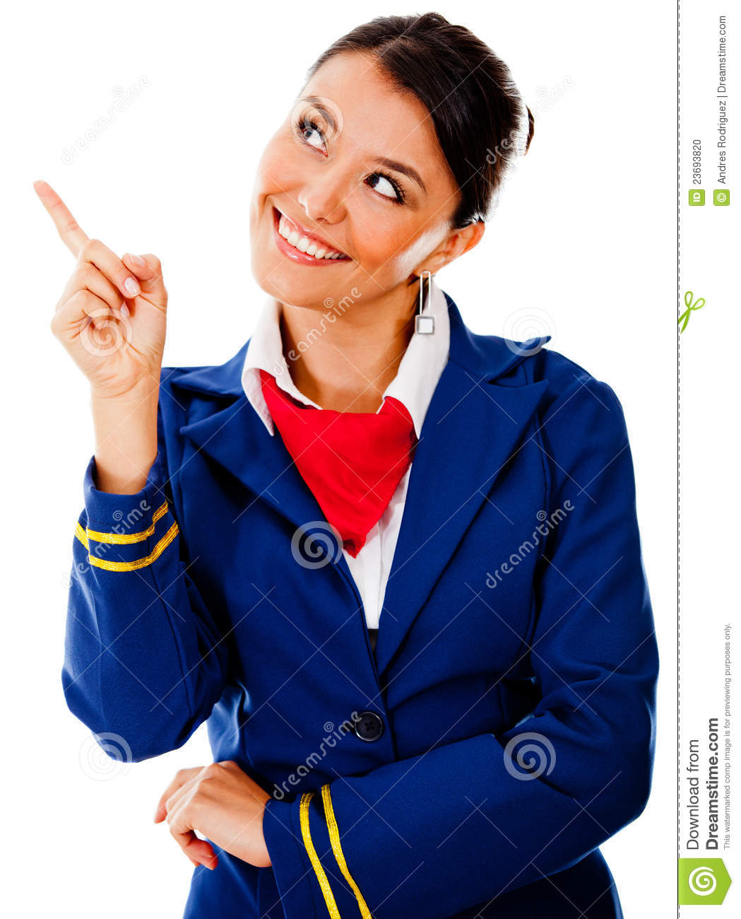 Beautiful flight attendant pointing with her finger - isolated over a ...