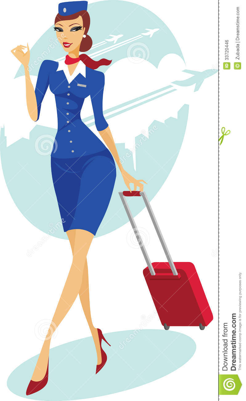 Flight Attendant With Suitcase Royalty Free Stock Image - Image ...