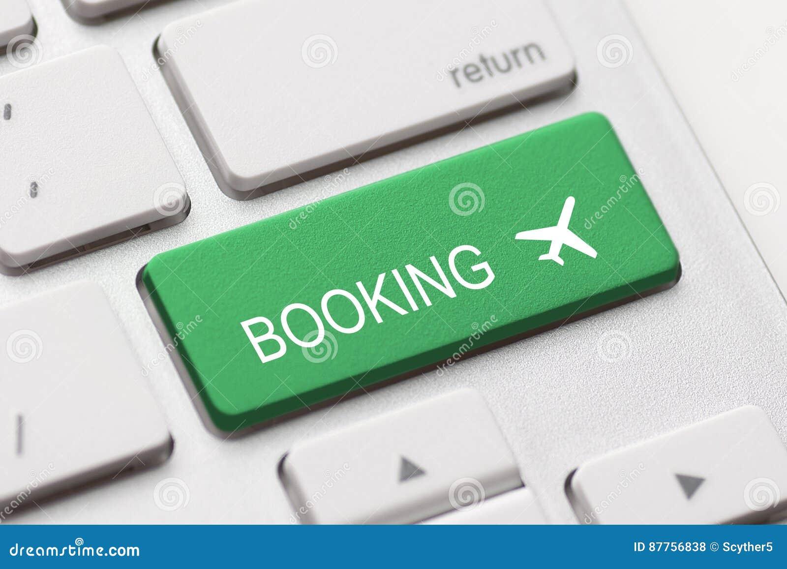 Flight Booking Keyboard Plane Travel Fly Check Buy Stock Photo