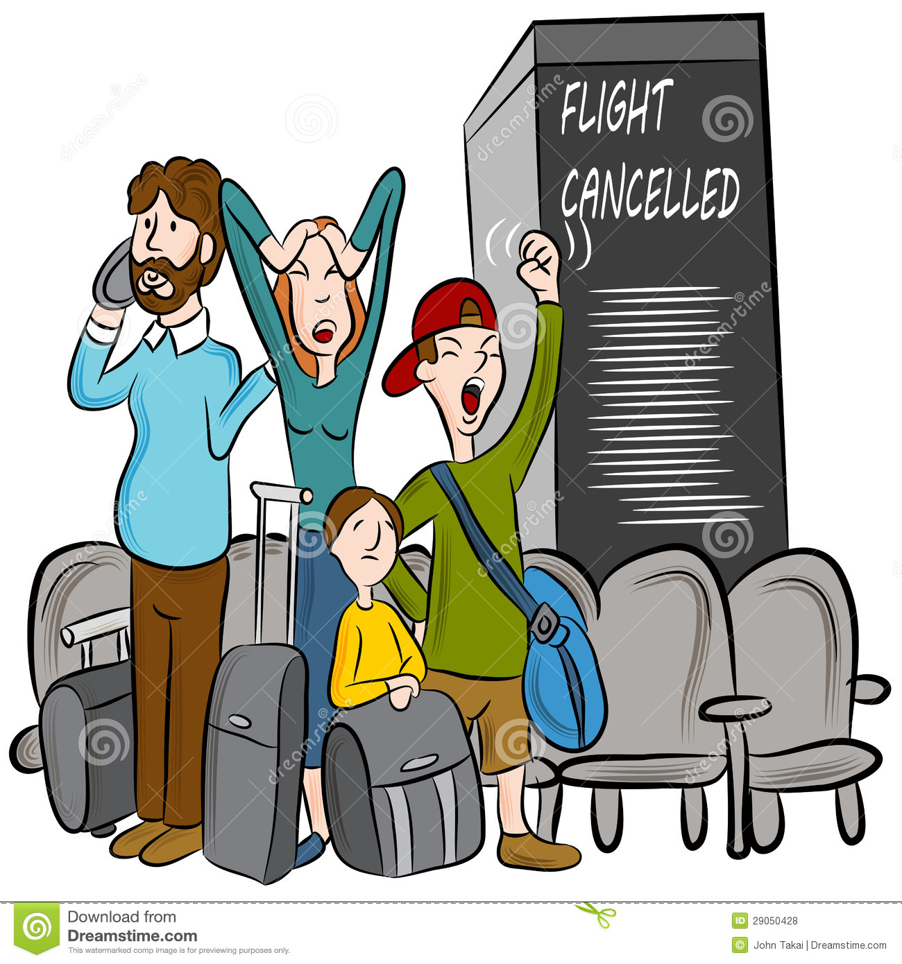 Flight Cancelled Stock Vector Illustration Of Frustrated
