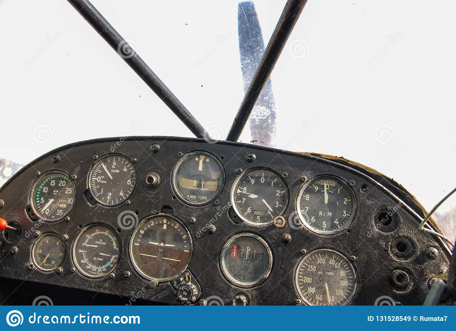 Flight Deck Dashboard Of An Vintage Propeller Airplane Stock