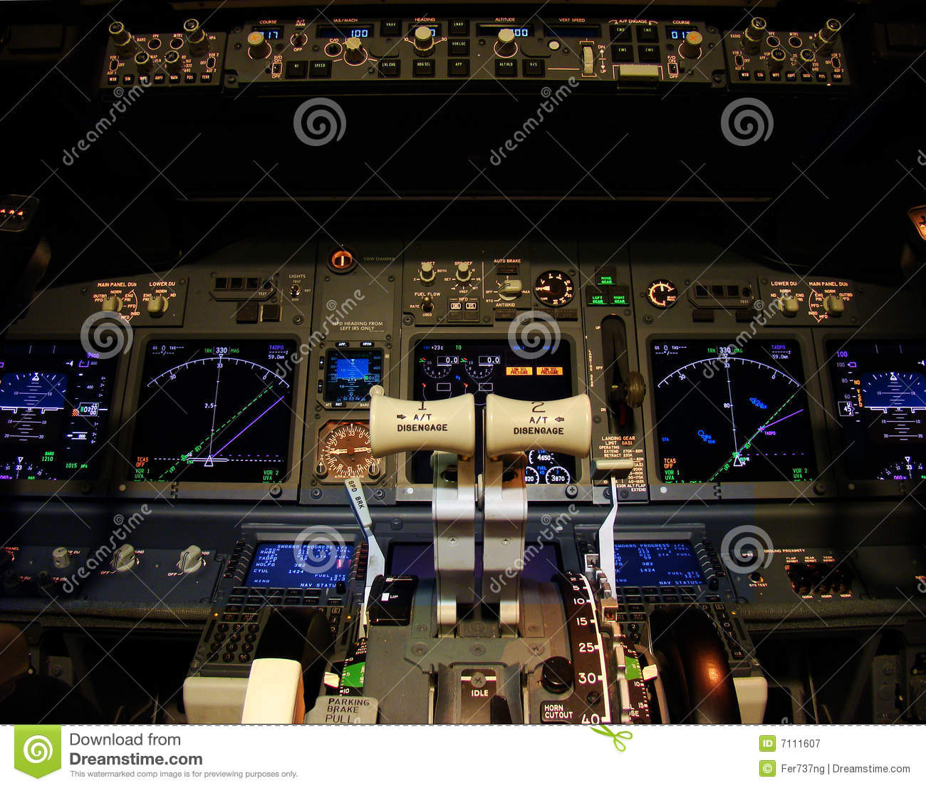 Flight Deck Of A Modern Airliner Stock Image Image 7111607