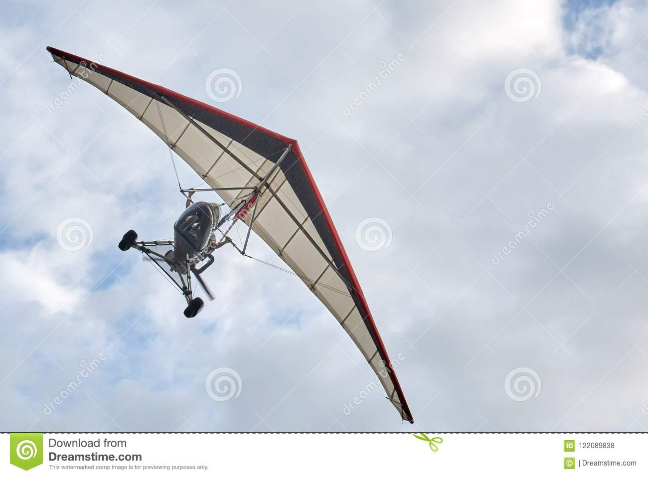 Delta Wing With Engine Flying Cloudy Sky Stock Photo - Image of over