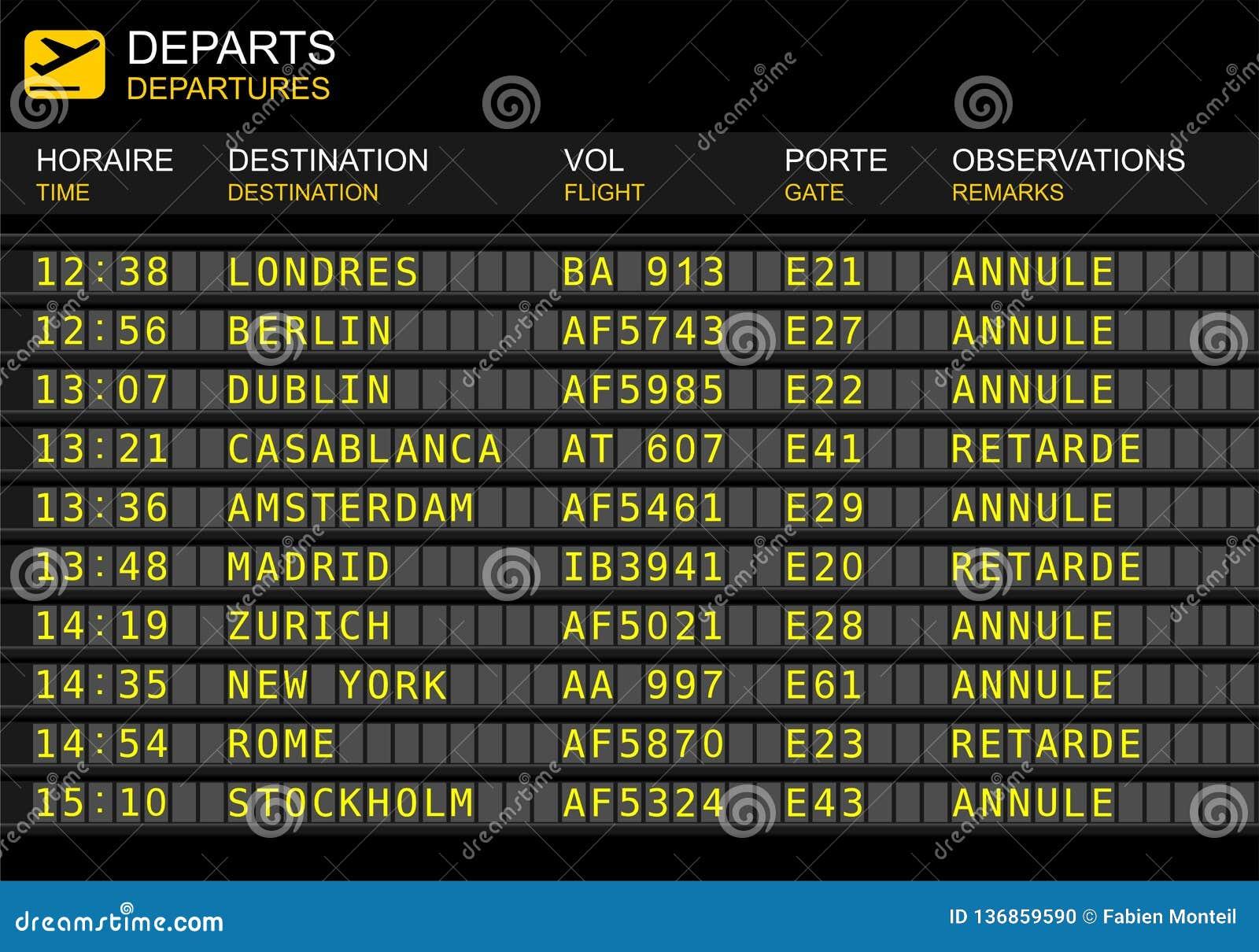 Flight Departures Board. French Airport Stock Illustration - Illustration  of flights, cancel: 136859590