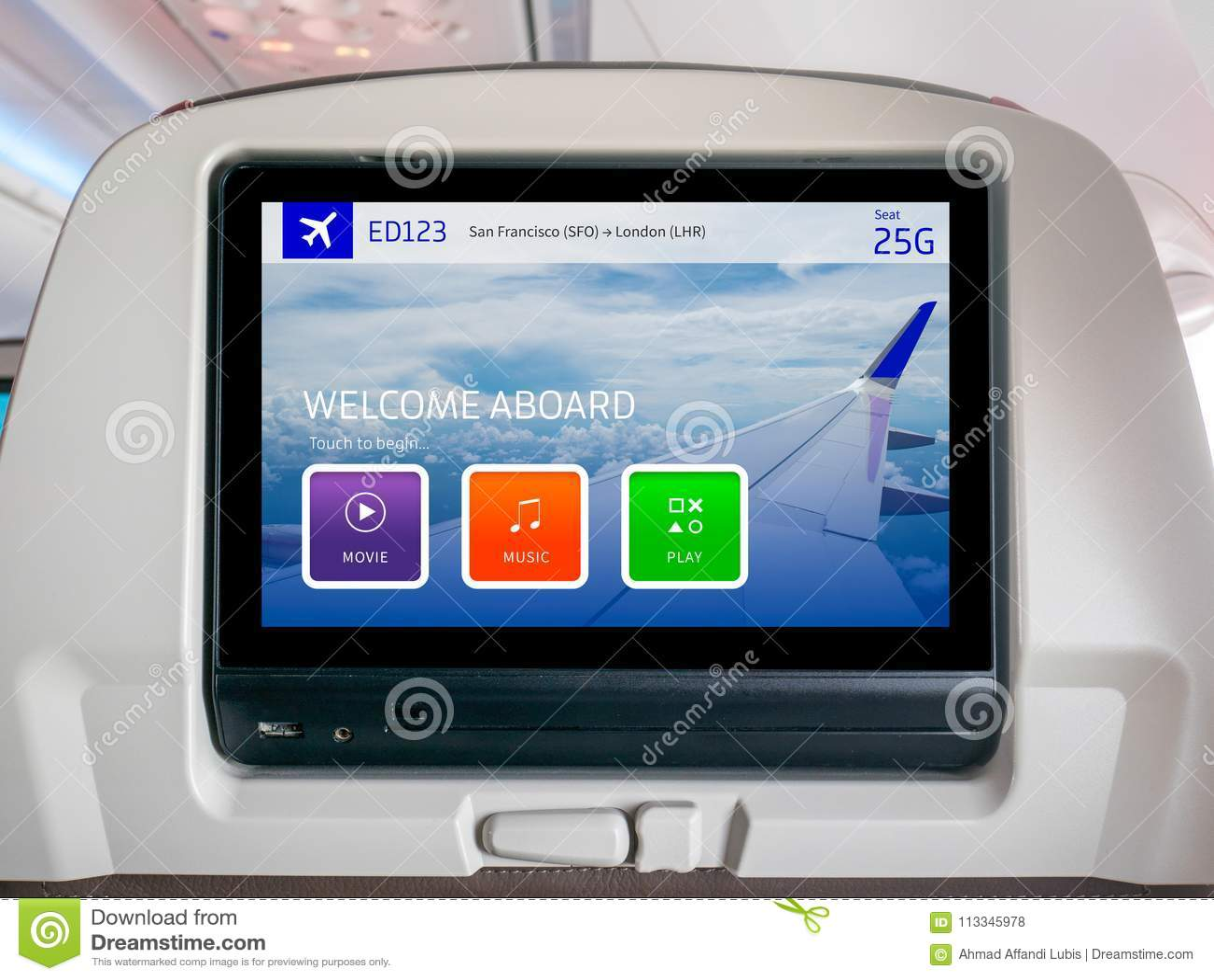 In-Flight Entertainment Screen, Inflight Screen, Seatback Screen in Airplane