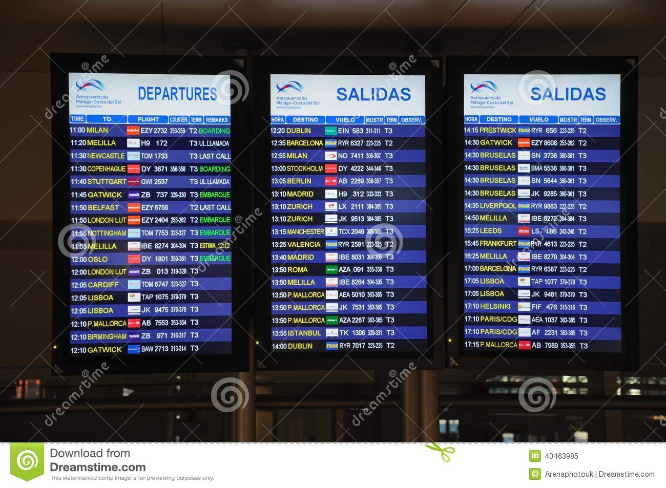 Flight Information Boards Malaga Airport Editorial Image