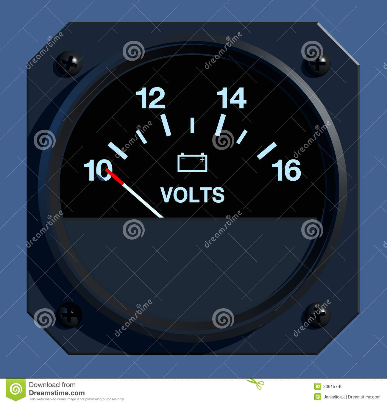 Flight Instruments 2d Voltage Stock Illustration Battery Indicator Front View Of Aircraft