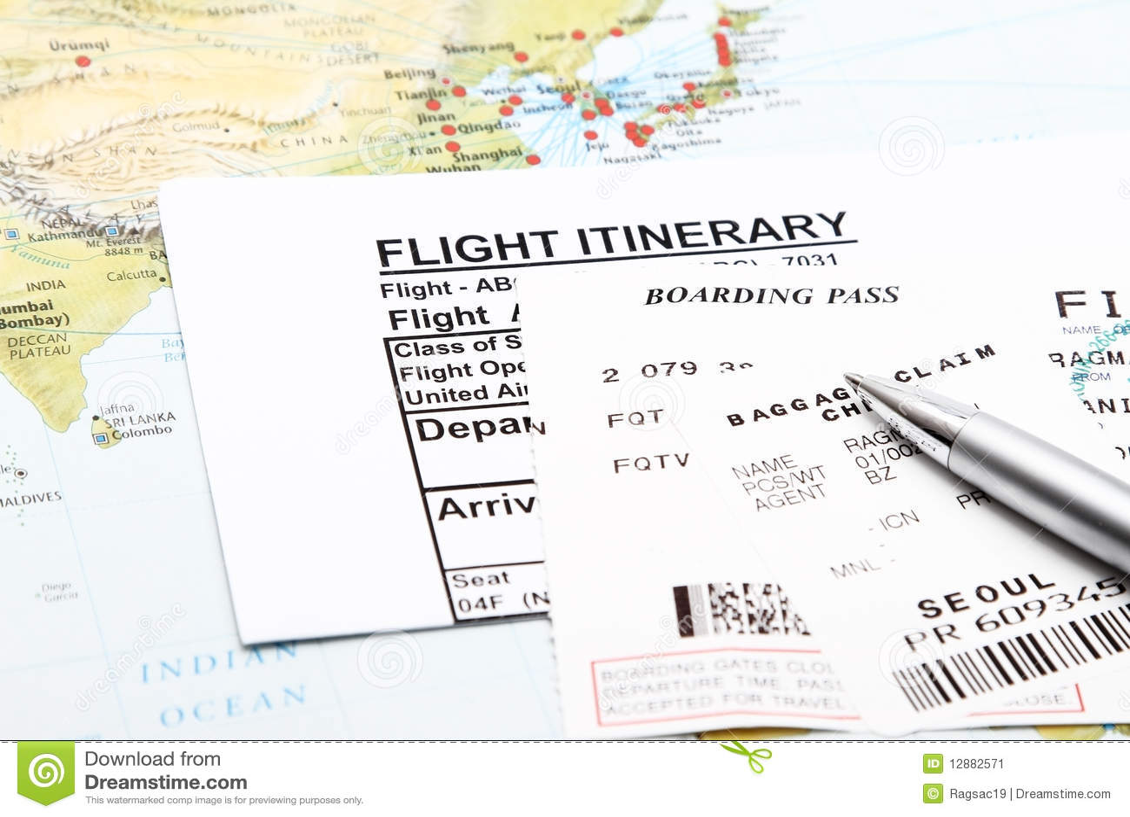 Flight Itinerary Stock Image Image 12882571