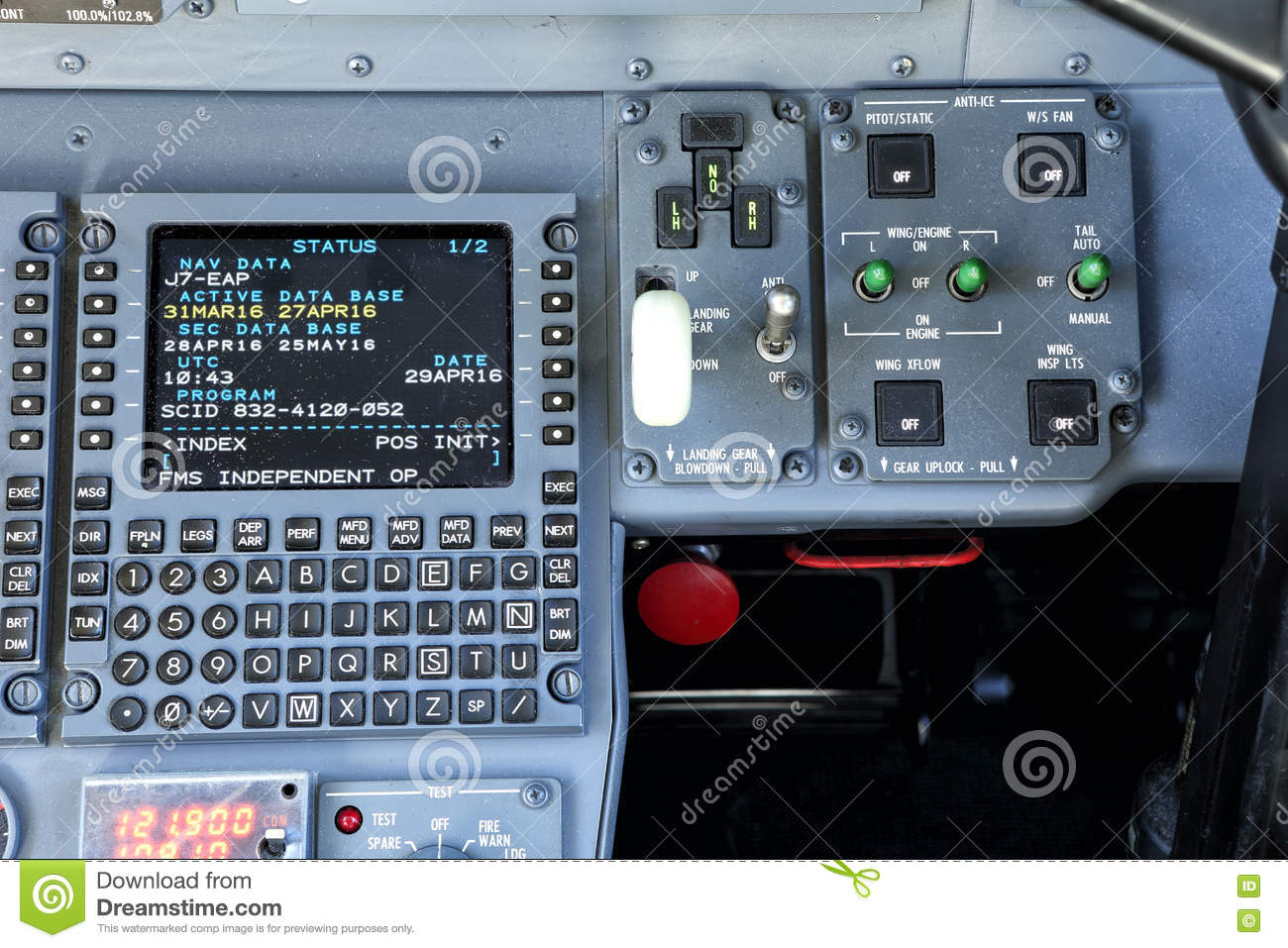 Old Control Panel Levers : Flight management system control panel stock photo image