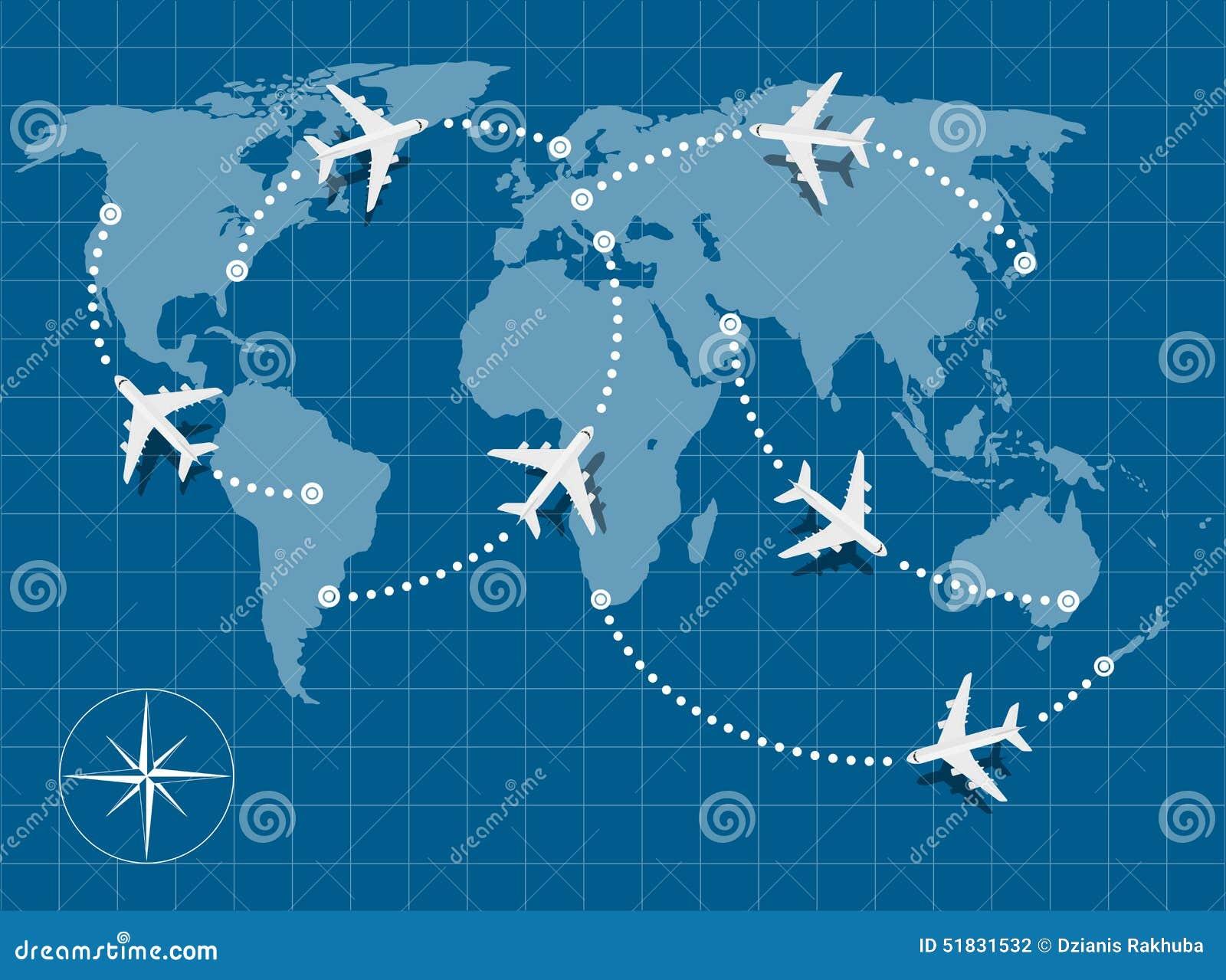 Flight Map Stock Vector Image 51831532