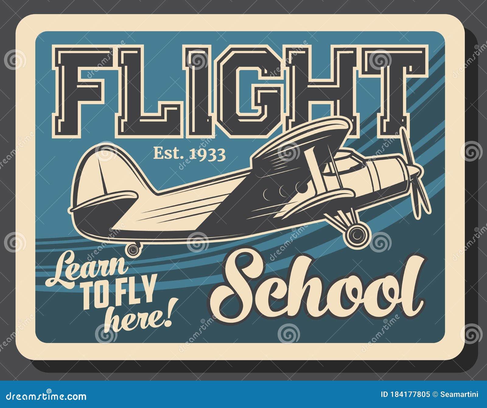 Flight School Retro Vector Poster Vintage Plane Stock Vector Illustration Of Aviation Design 184177805