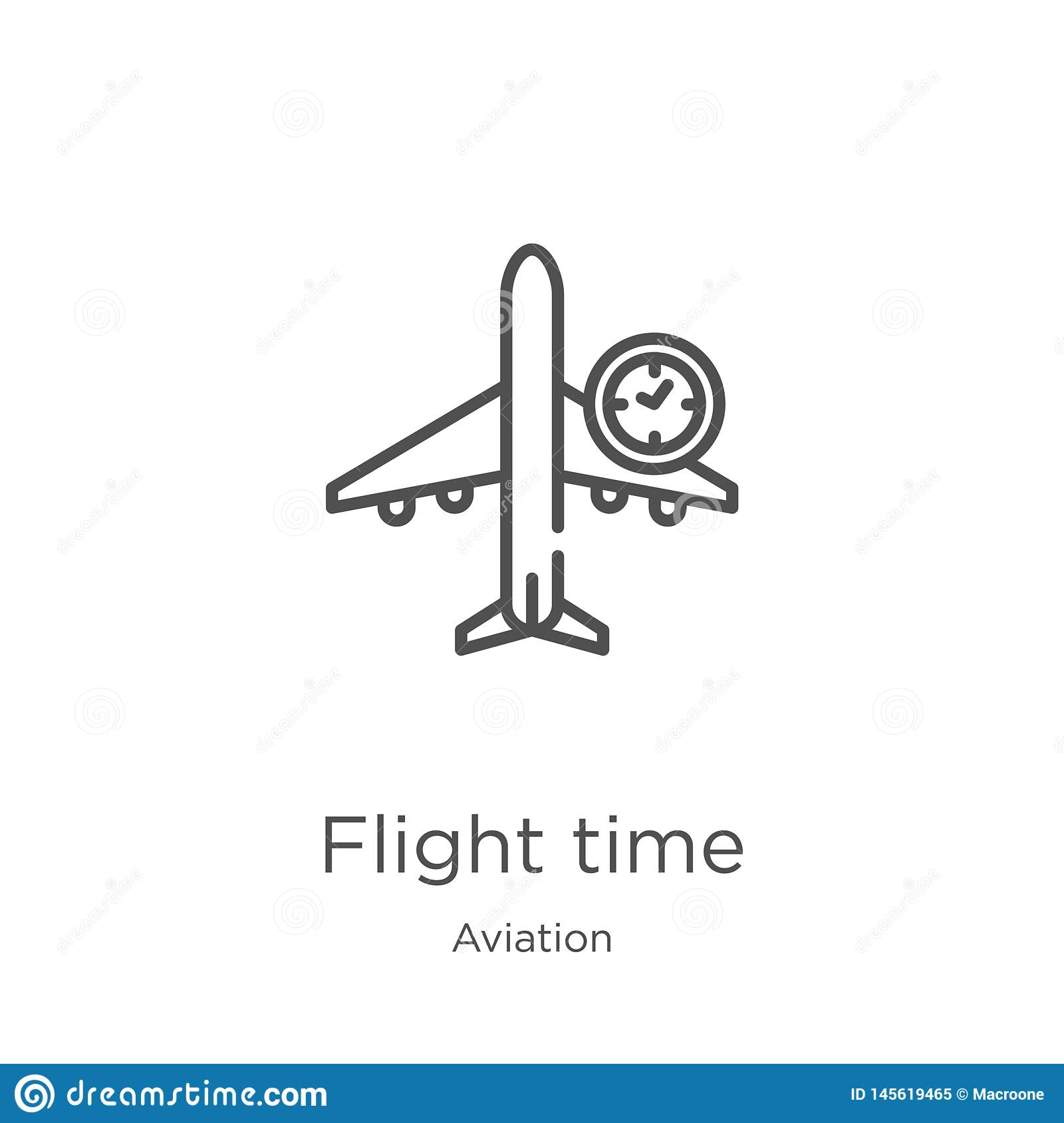 flight time icon vector from aviation collection. Thin line flight time outline icon vector illustration. Outline, thin line