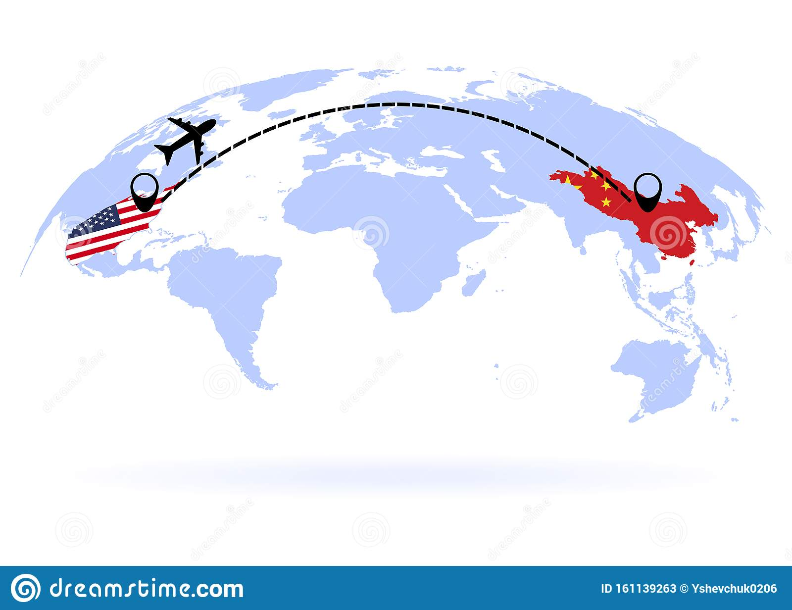 Flight From USA To China Above World Map. Airplane Arrives ...