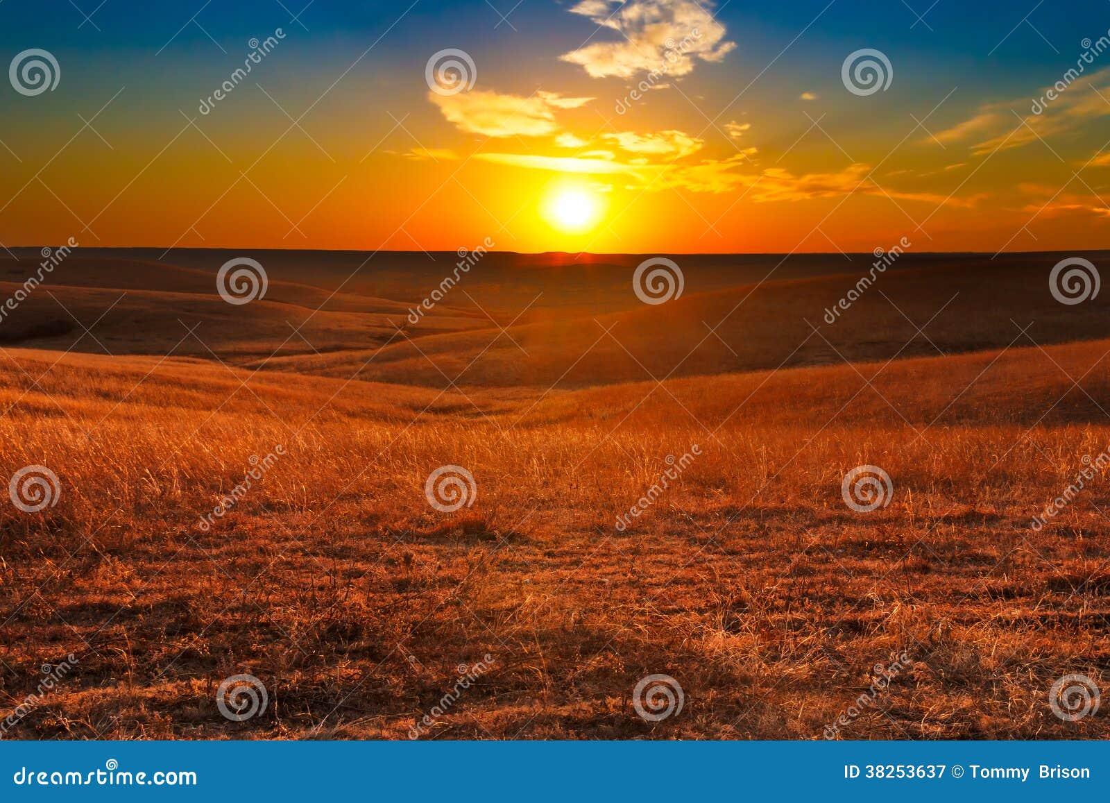 Flint Hills de coucher du soleil du Kansas