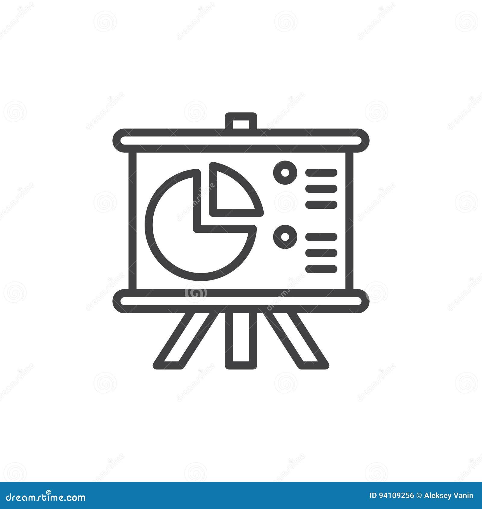 Flip Chart Board med pajdiagramlinjen symbol, översiktsvektortecken, linjär stilpictogram som isoleras på vit