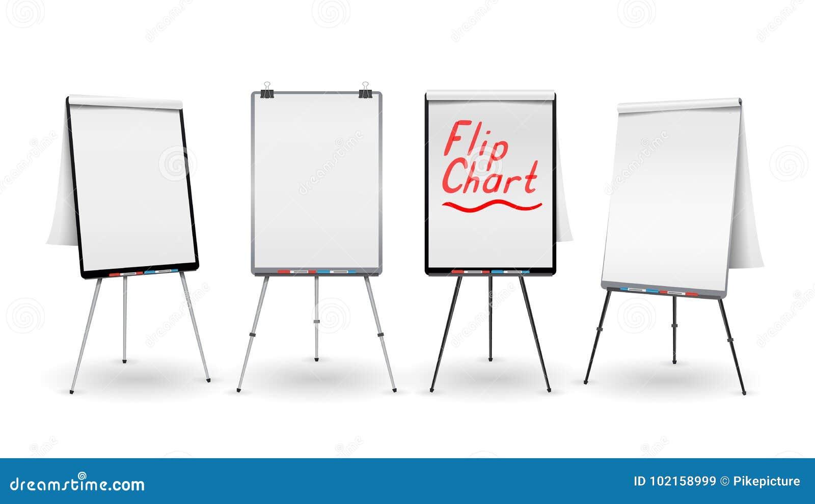 Flip Chart Set Vector Kontor Whiteboard för affärsutbildning Tomt ark av papper på en tripod Presentationsställning