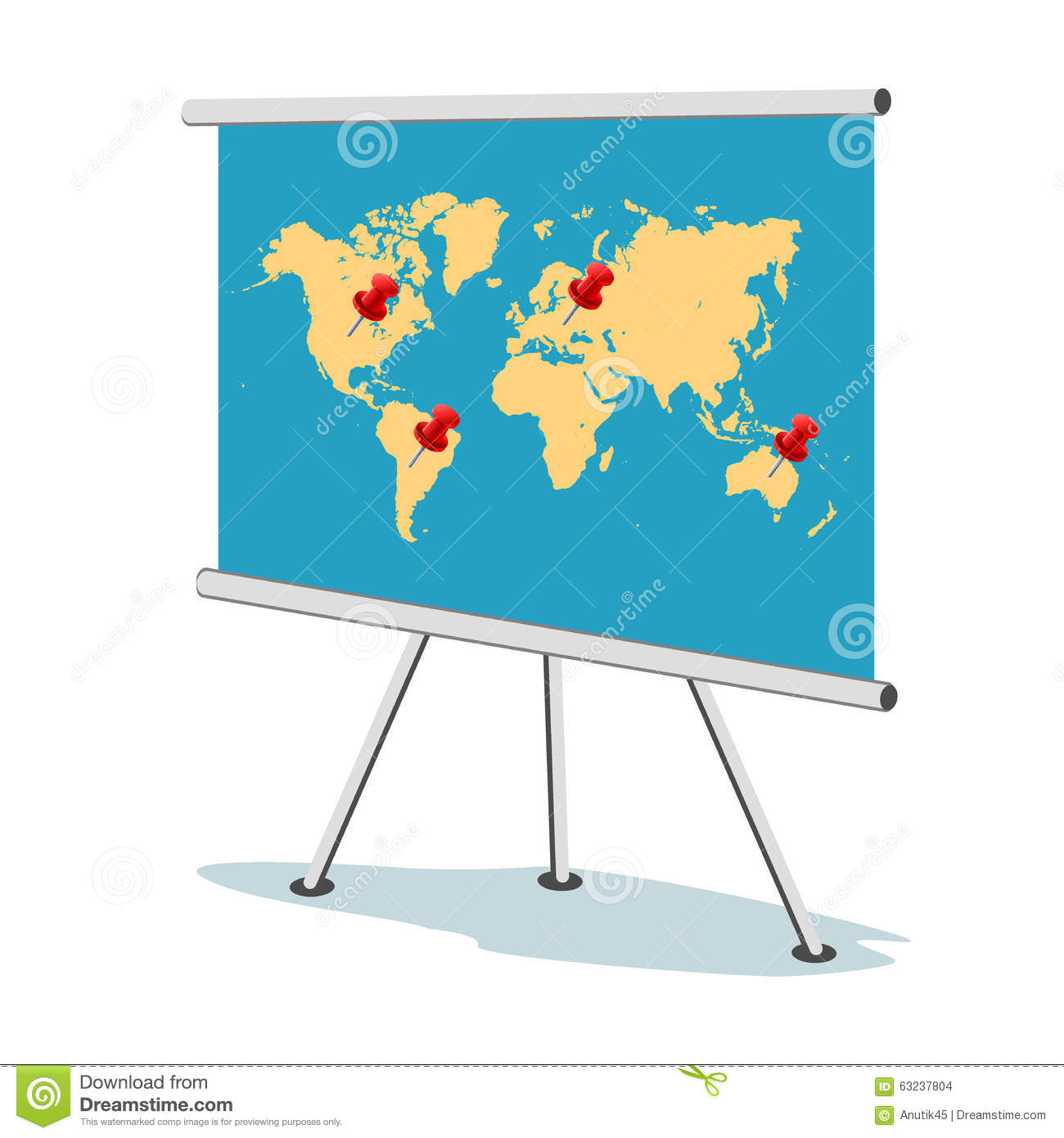 Flip Chart, World Map With Points, Business Concept, Template, Banner ...