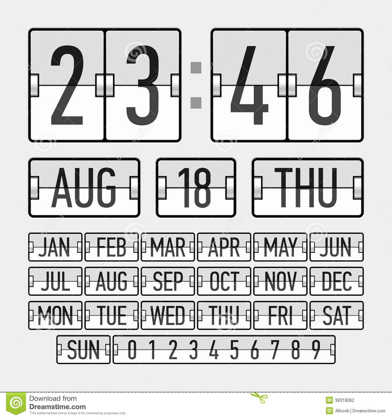 Flip Clock Template With Time, Date And Day Stock Vector