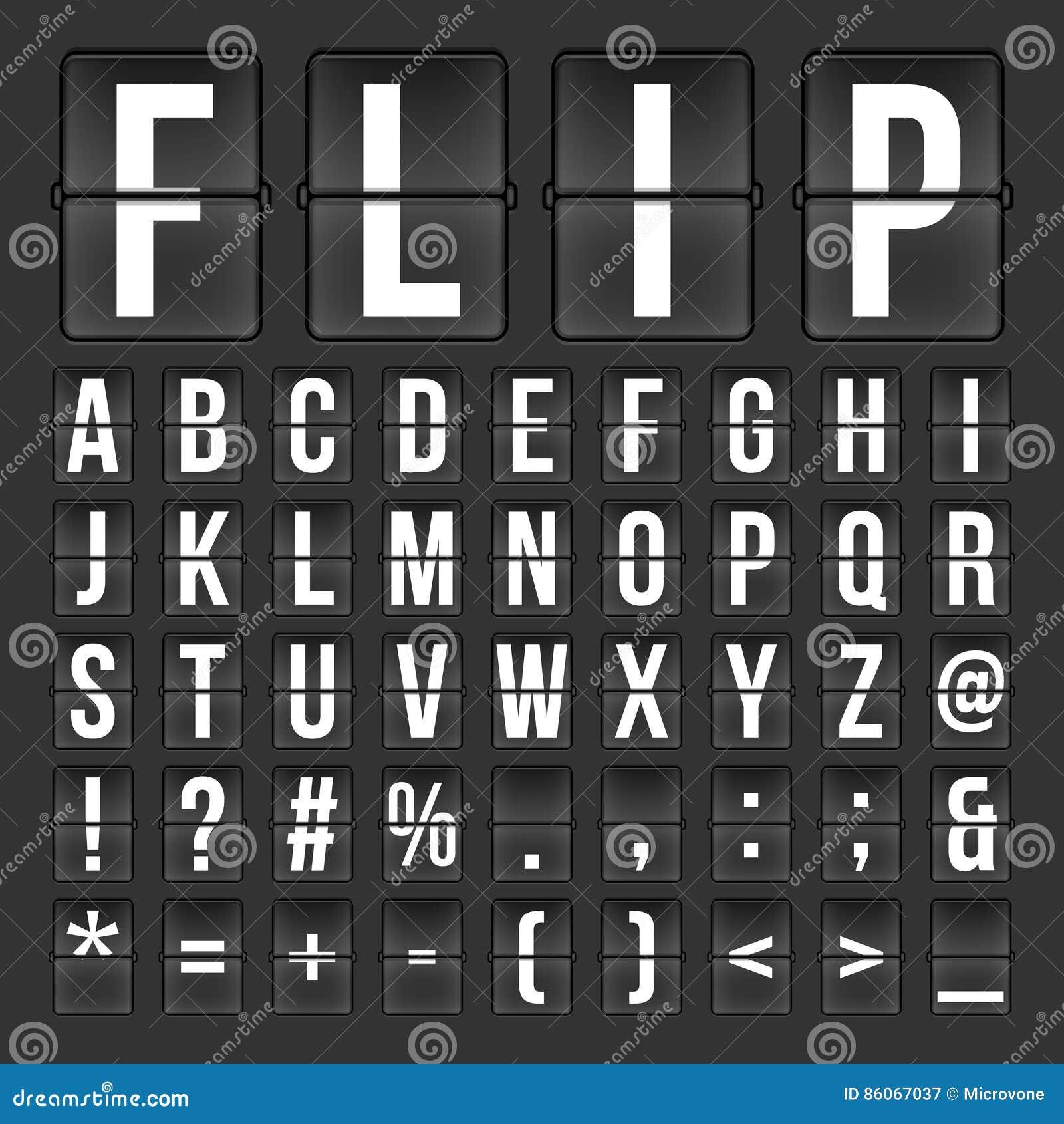 digital numbers and symbols flip countdown digital calendar clock numbers letters vector alphabet font airport