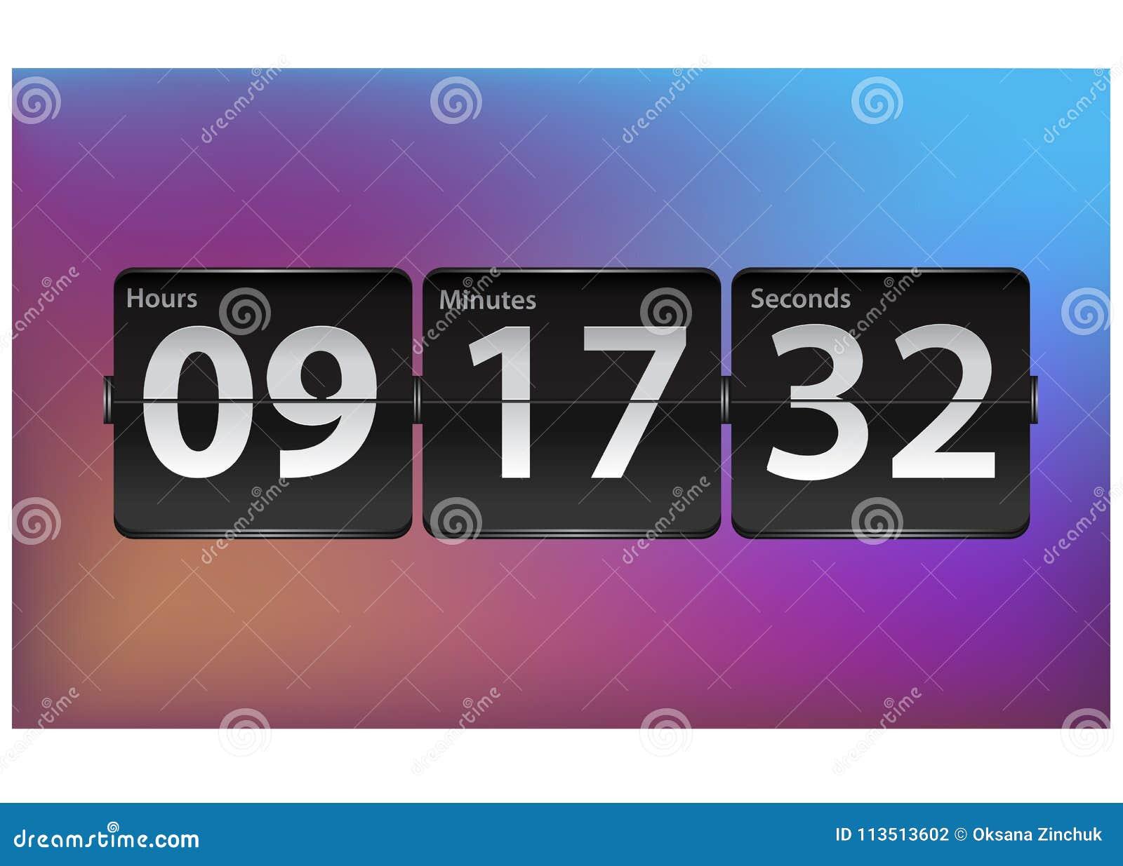 Flip Countdown Timer Template. Analog Clock Counter Design. Stock ...