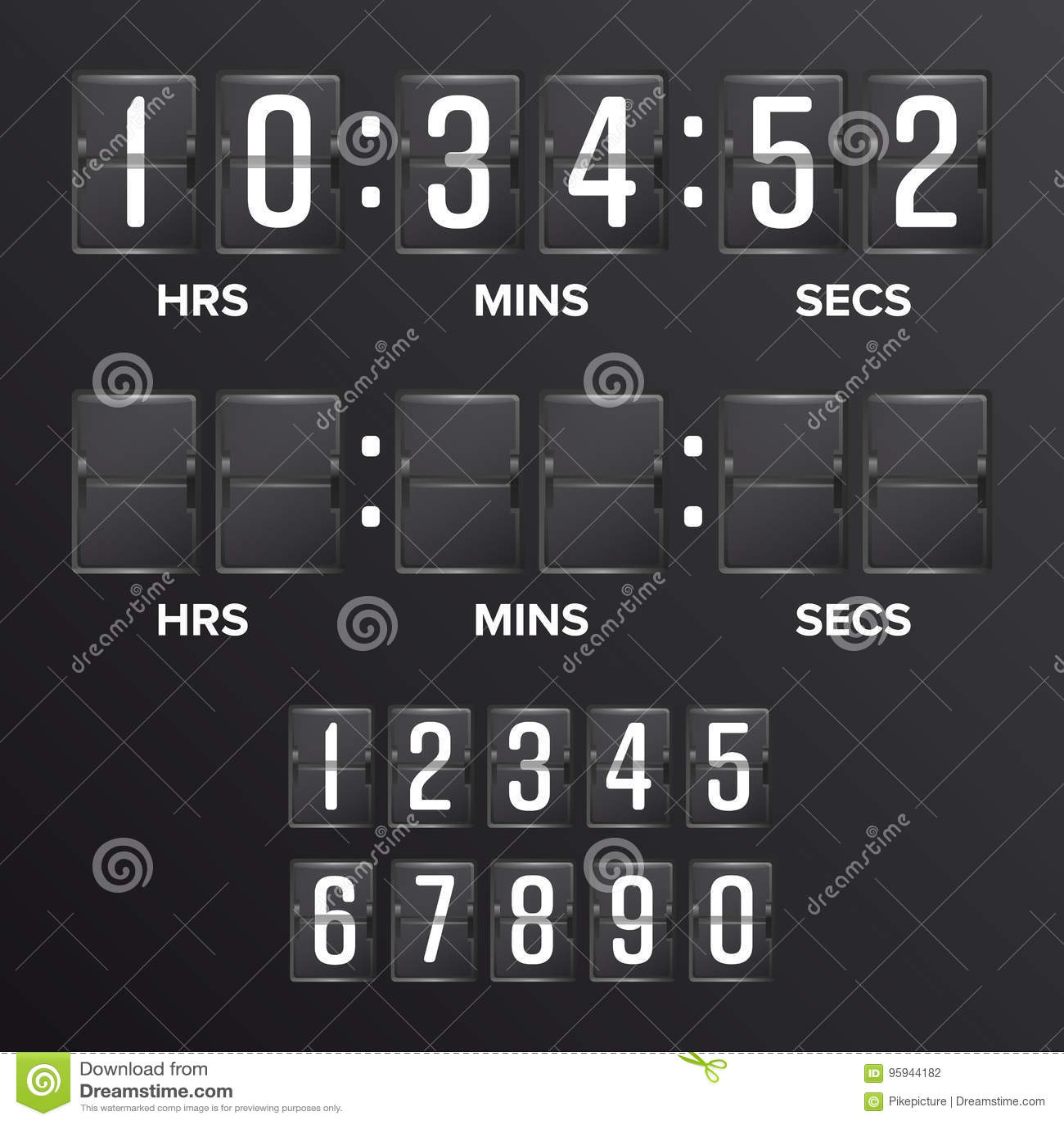 Flip Countdown Timer Vector För funktionskortDigital för motsvarighet svart mellanrum tidmätare Timmar minuter, sekunder Tid illu