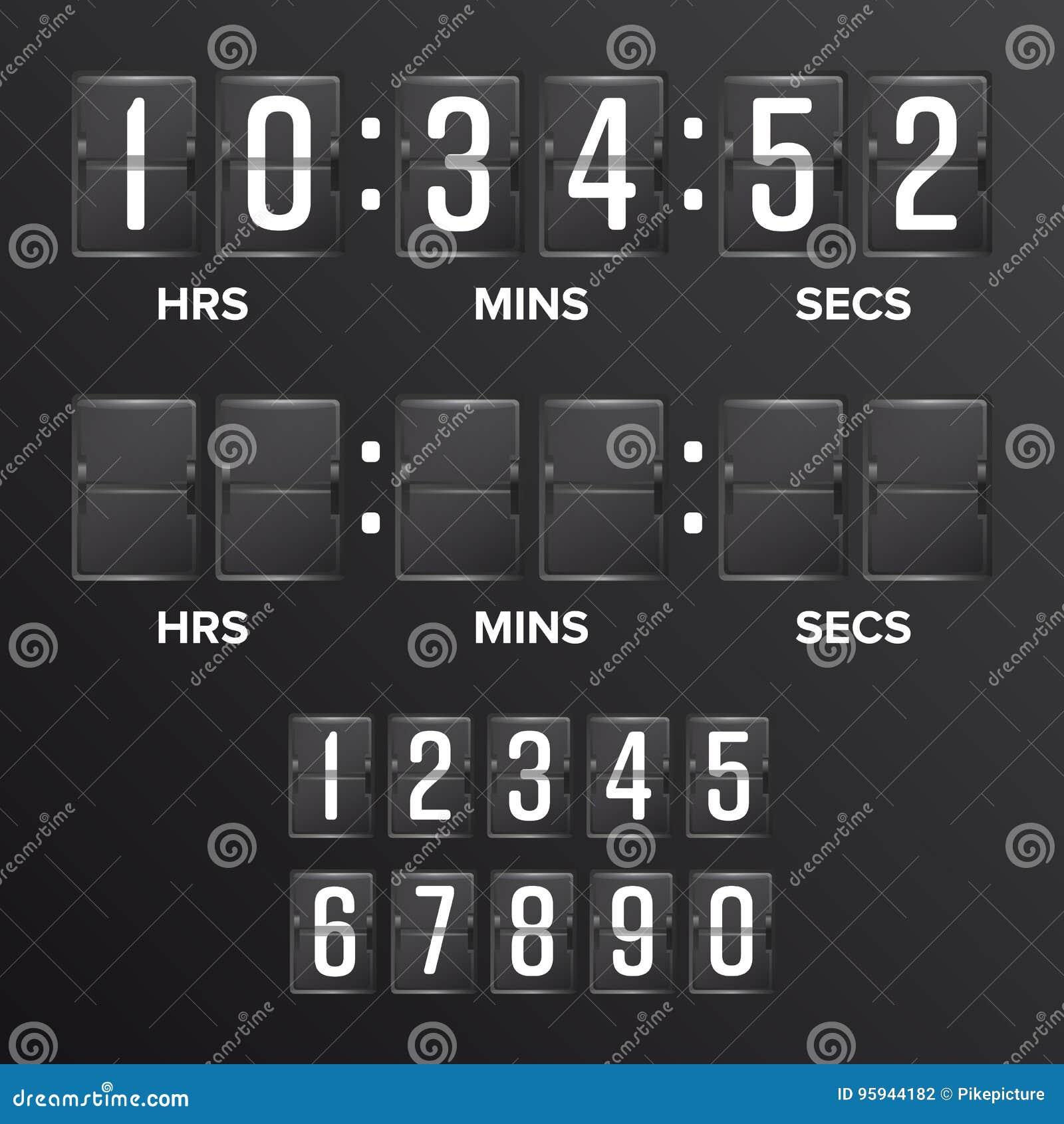 Flip Countdown Timer Vector Spazio in bianco nero analogico del temporizzatore di Digital del tabellone segnapunti Ore, minuti, s