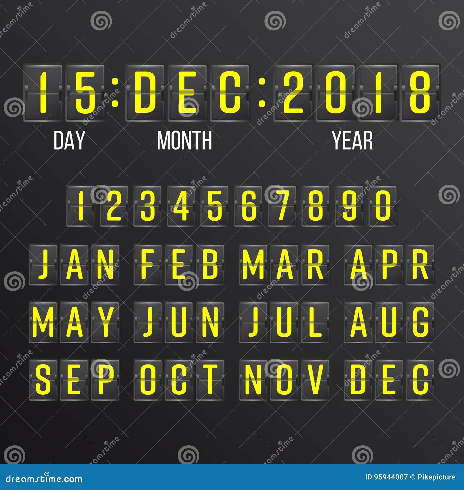 Flip Countdown Timer Vector Svarta Flip Scoreboard Digital Calendar År månader, dagar