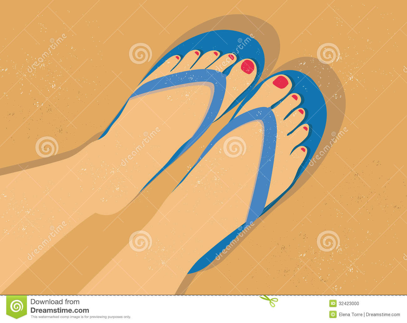 7f105ade76fd1 Flip flop sandals on the beach. Vector illustration of woman feet and flip- flop