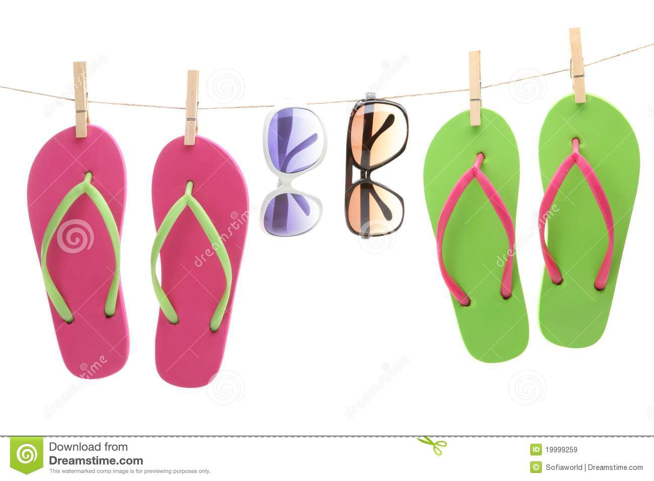 Flipflop Sandles And Sunglasses Hanging By Clips Royalty Free Stock Images