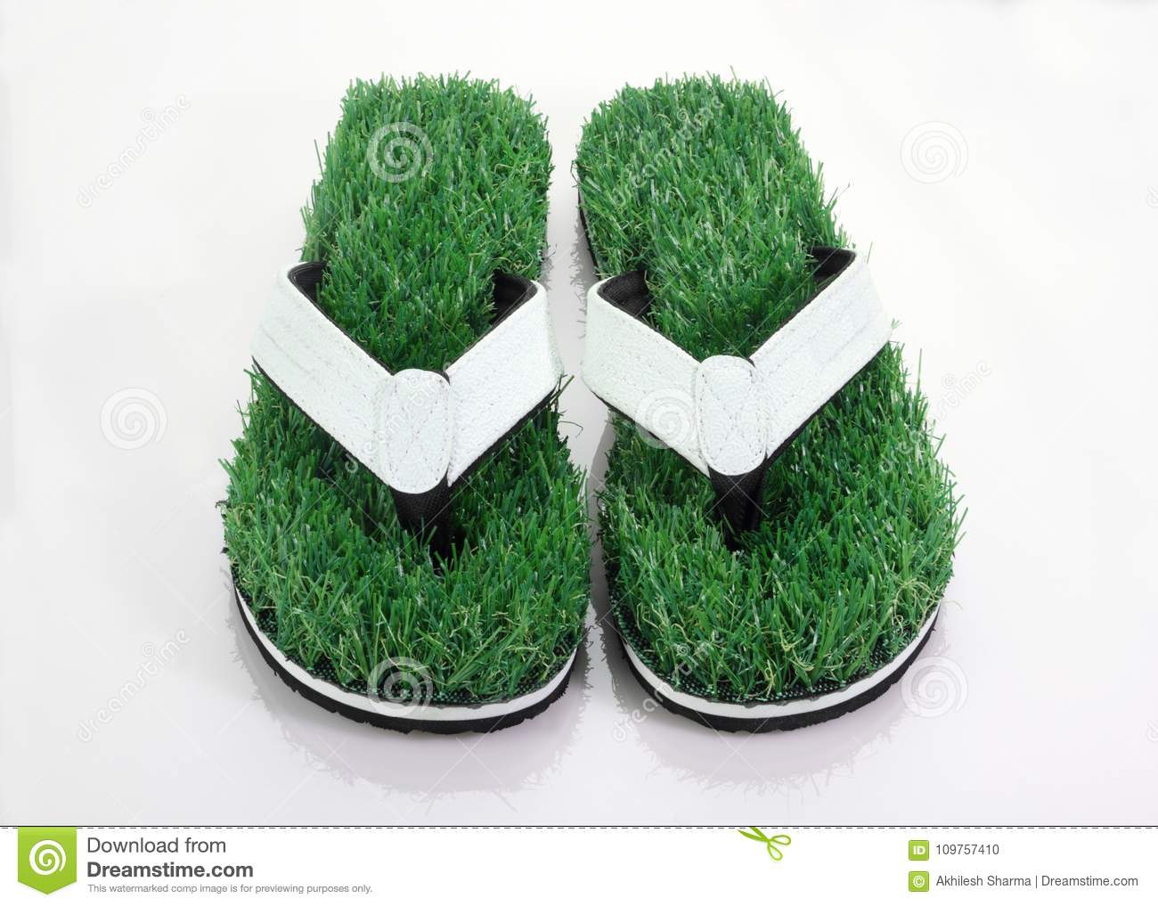 92aba6ccf Flip-Flop Slipper With Green Grass Comfort Concept Stock Photo ...