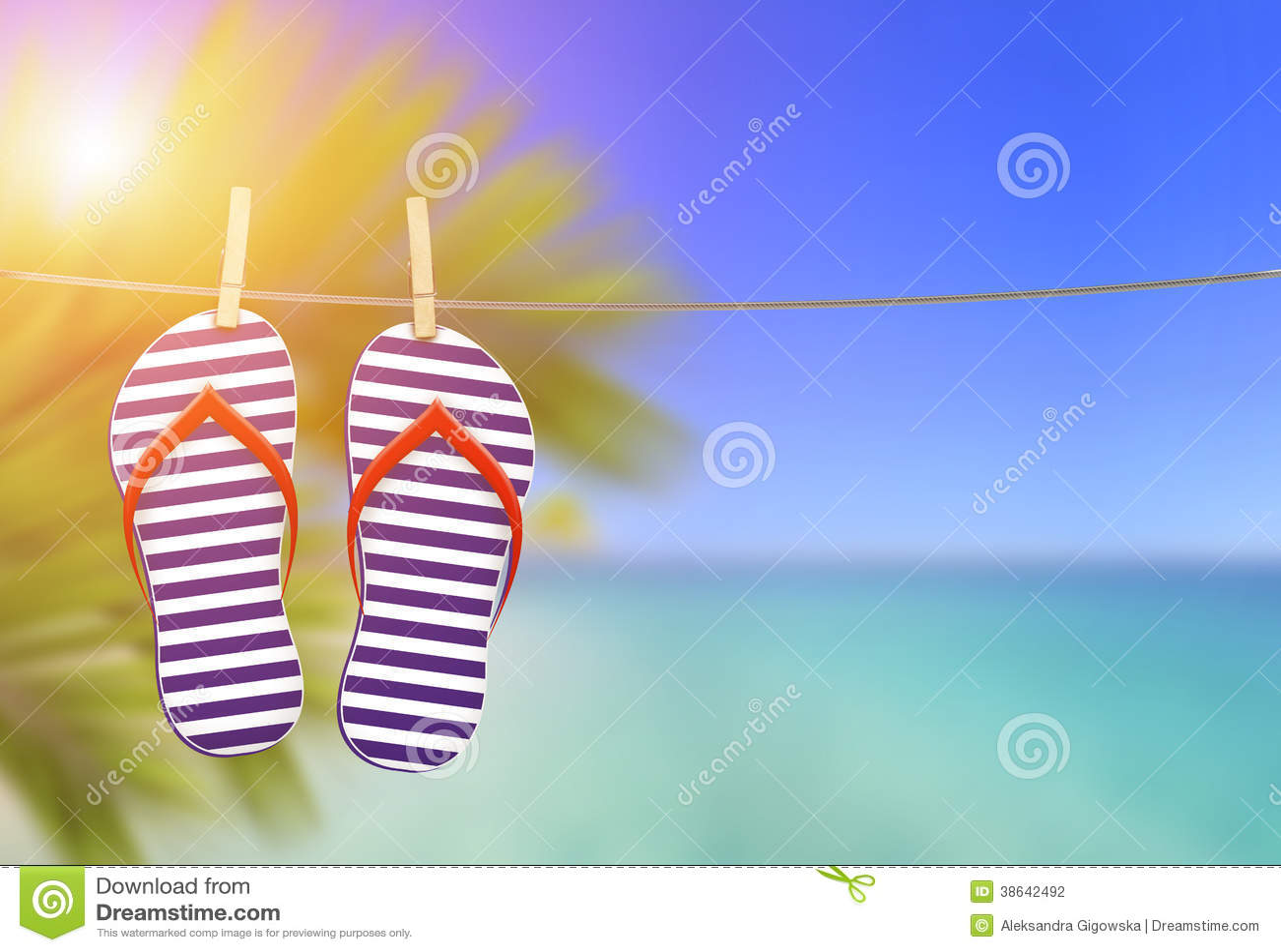 f552c1f356bcb3 Flip Flops On The Clothesline Stock Photo - Image of palm ...