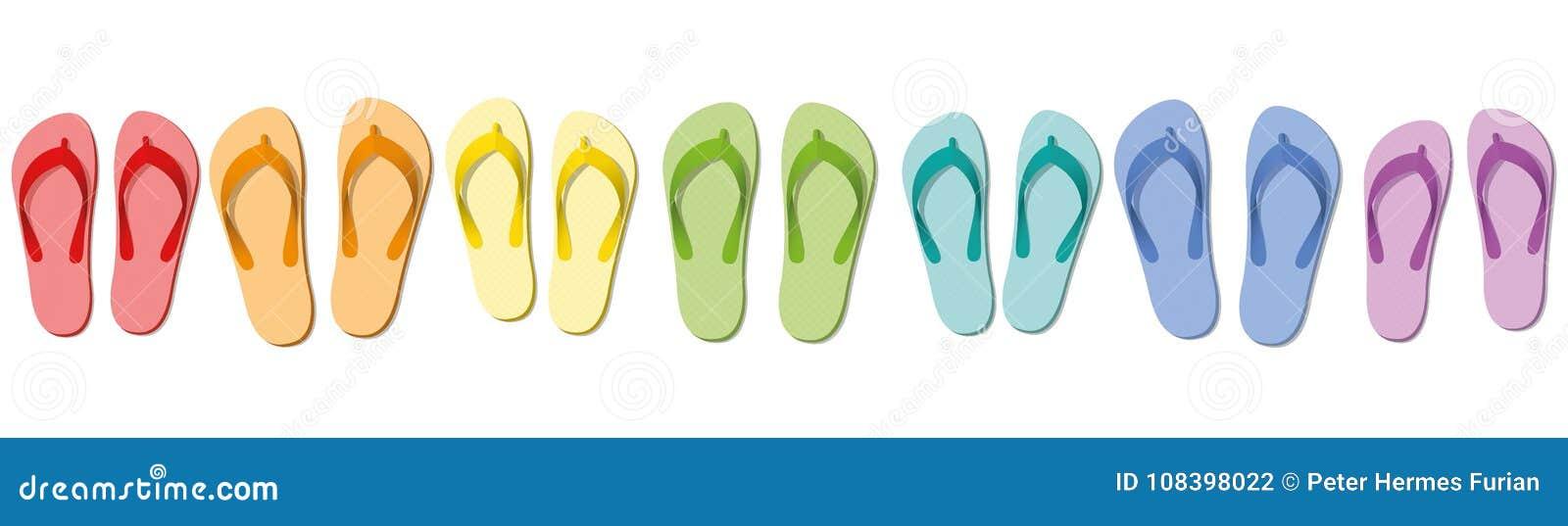de5feef90d0 Flip Flops Colored Set Seven Sandals Stock Vector - Illustration of ...