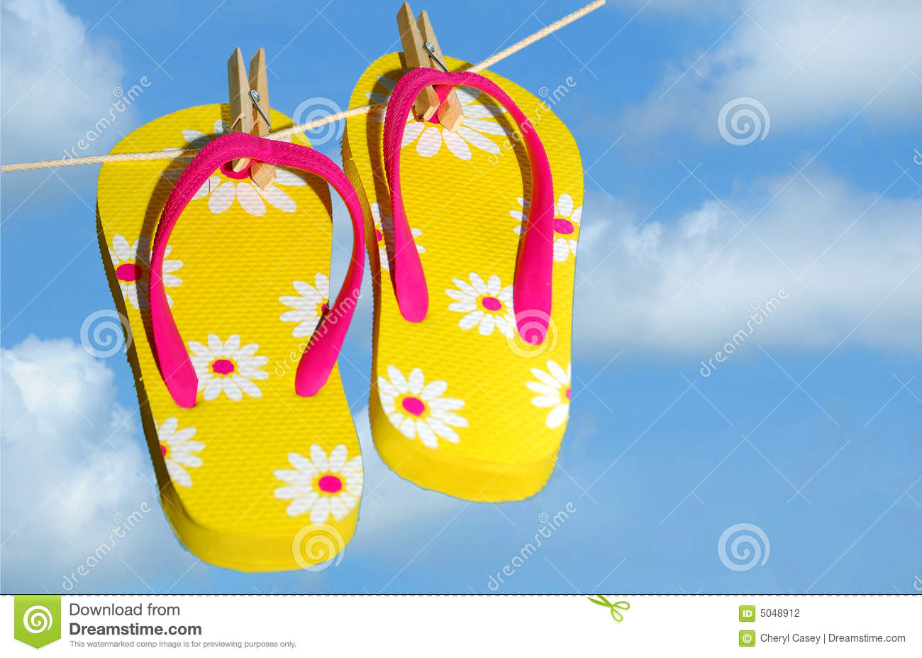 Flip Flops Drying on Line