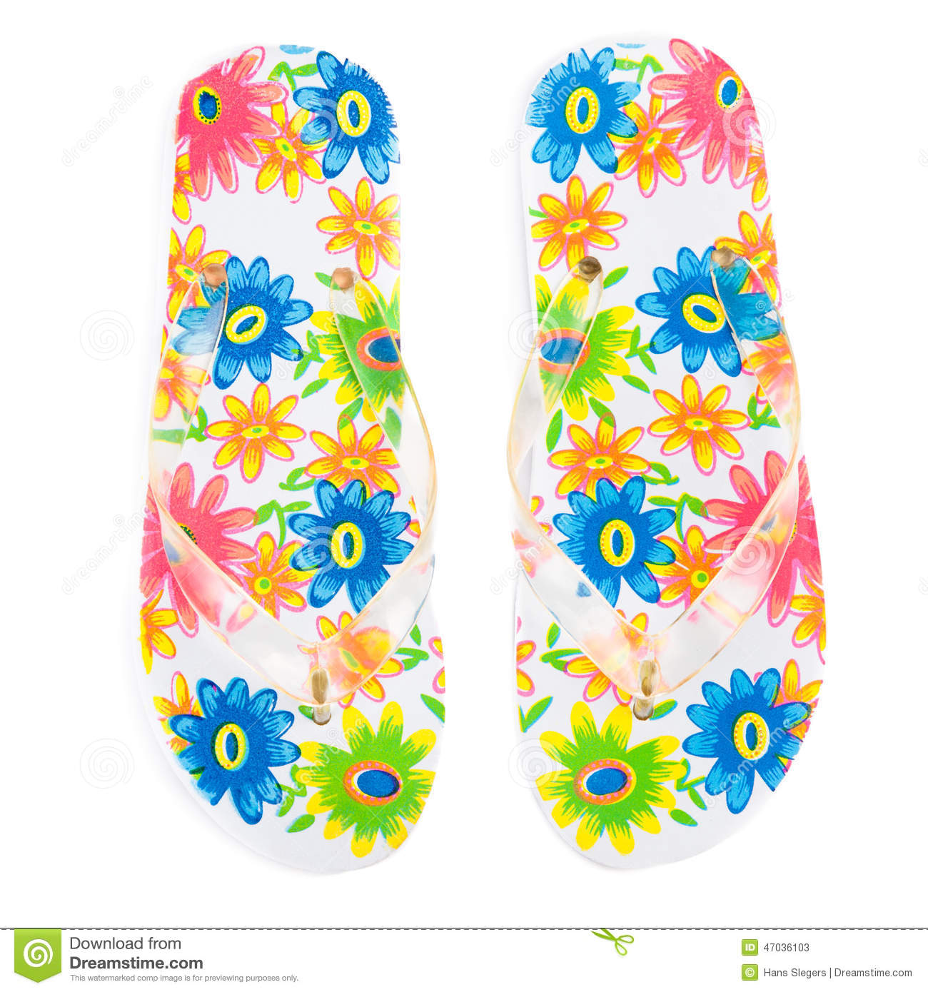 68a278012bb9 Colorful flip-flops with flowers isolated on white background