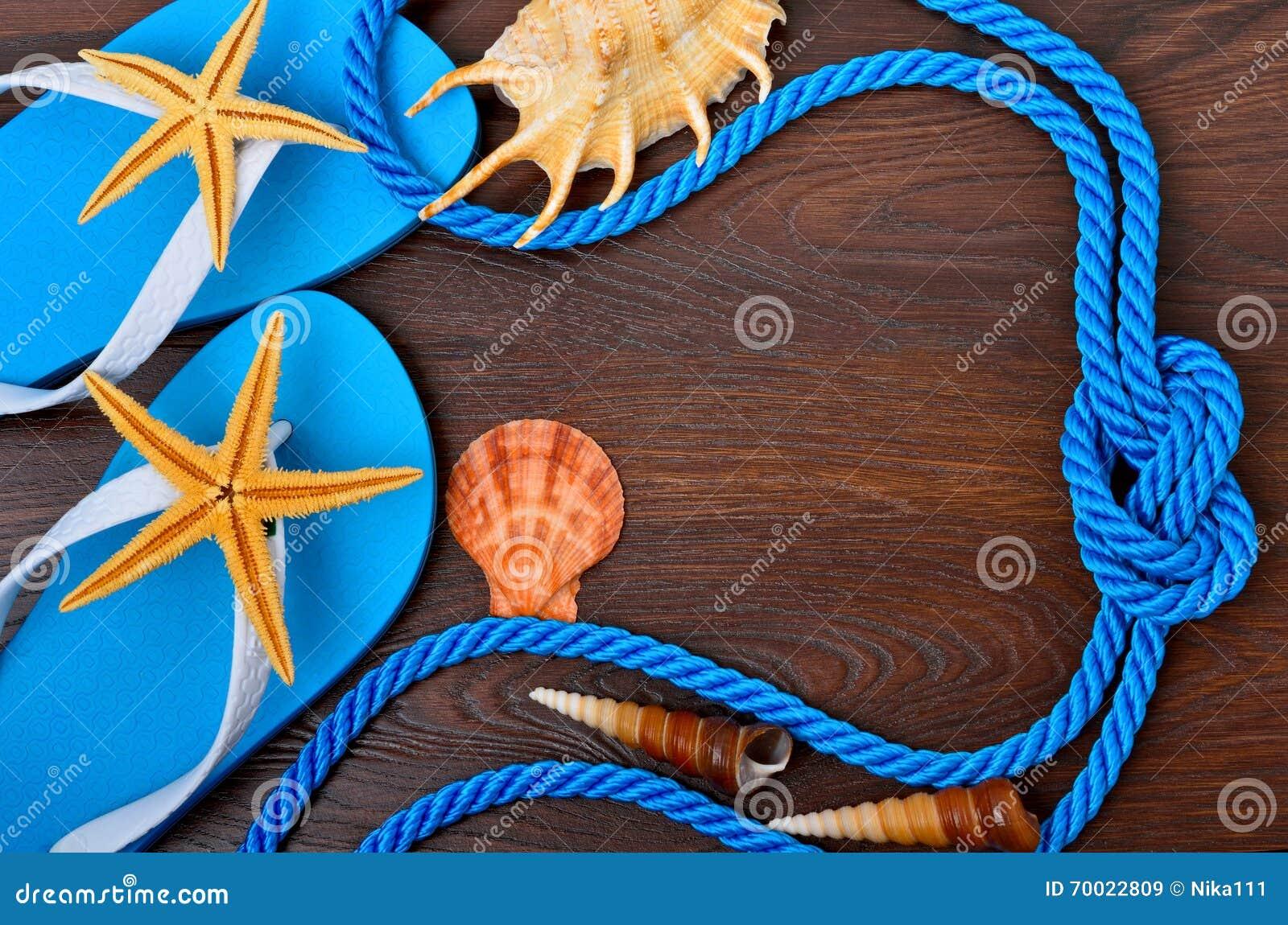 Flip-flops, starfish and seashells.