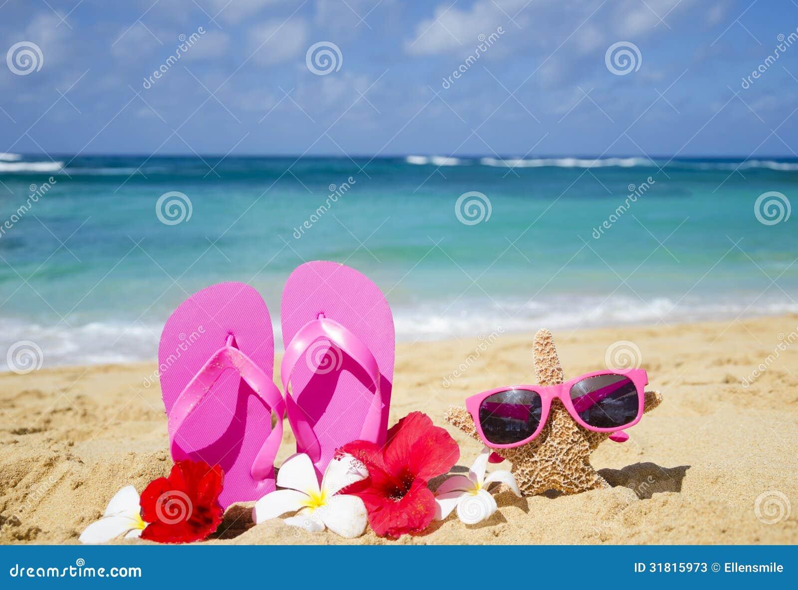 0e4ec45fc8dba Flip Flops And Starfish With Sunglasses On Sandy Beach Stock Image ...