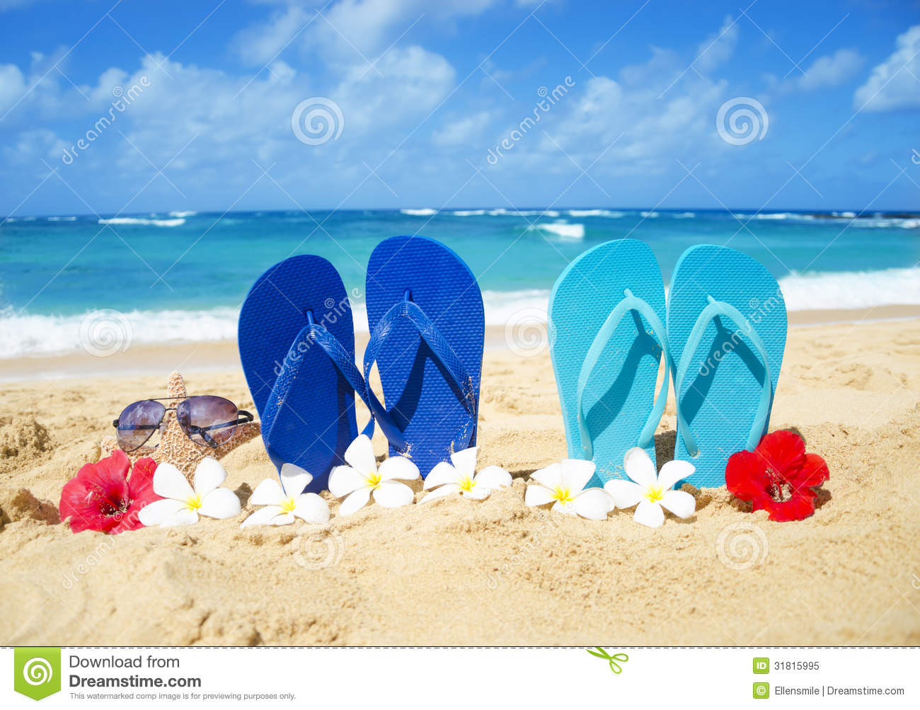 388d40e3c9bda1 Flip Flops And Starfish With Sunglasses On Sandy Beach Stock Image ...