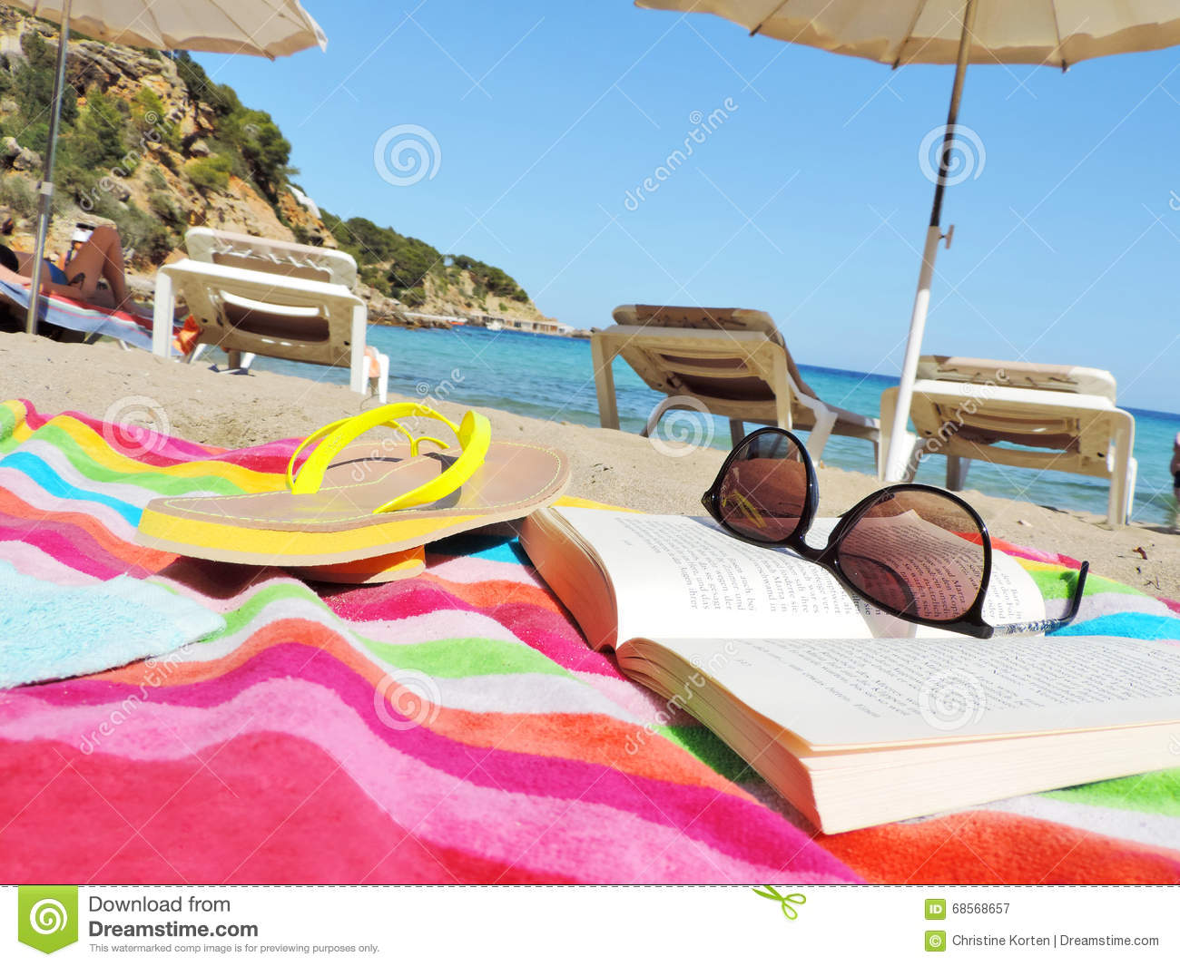 Flip Flop Chair Flip Flops Sunglasses And Book On The Beach Stock Photo Image