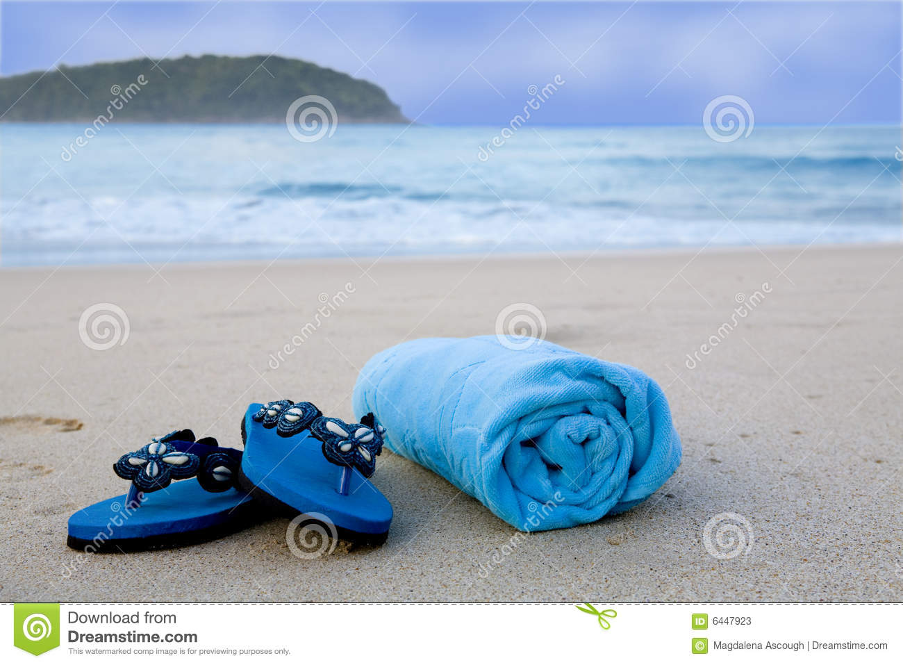 ce5dd041c4765 Flip Flops And Towel On The Beach Stock Image - Image of summer ...