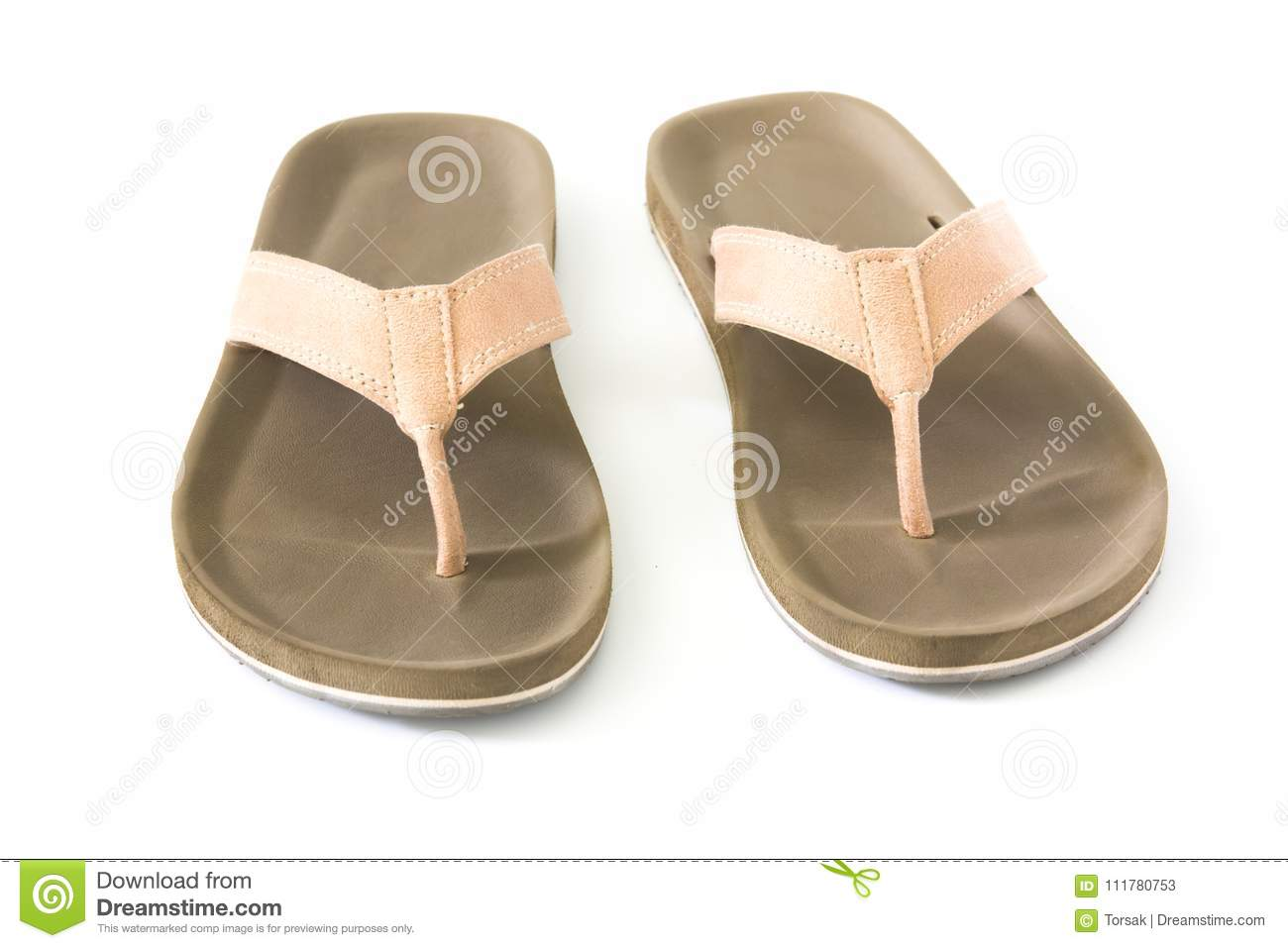 Flip flops on white background