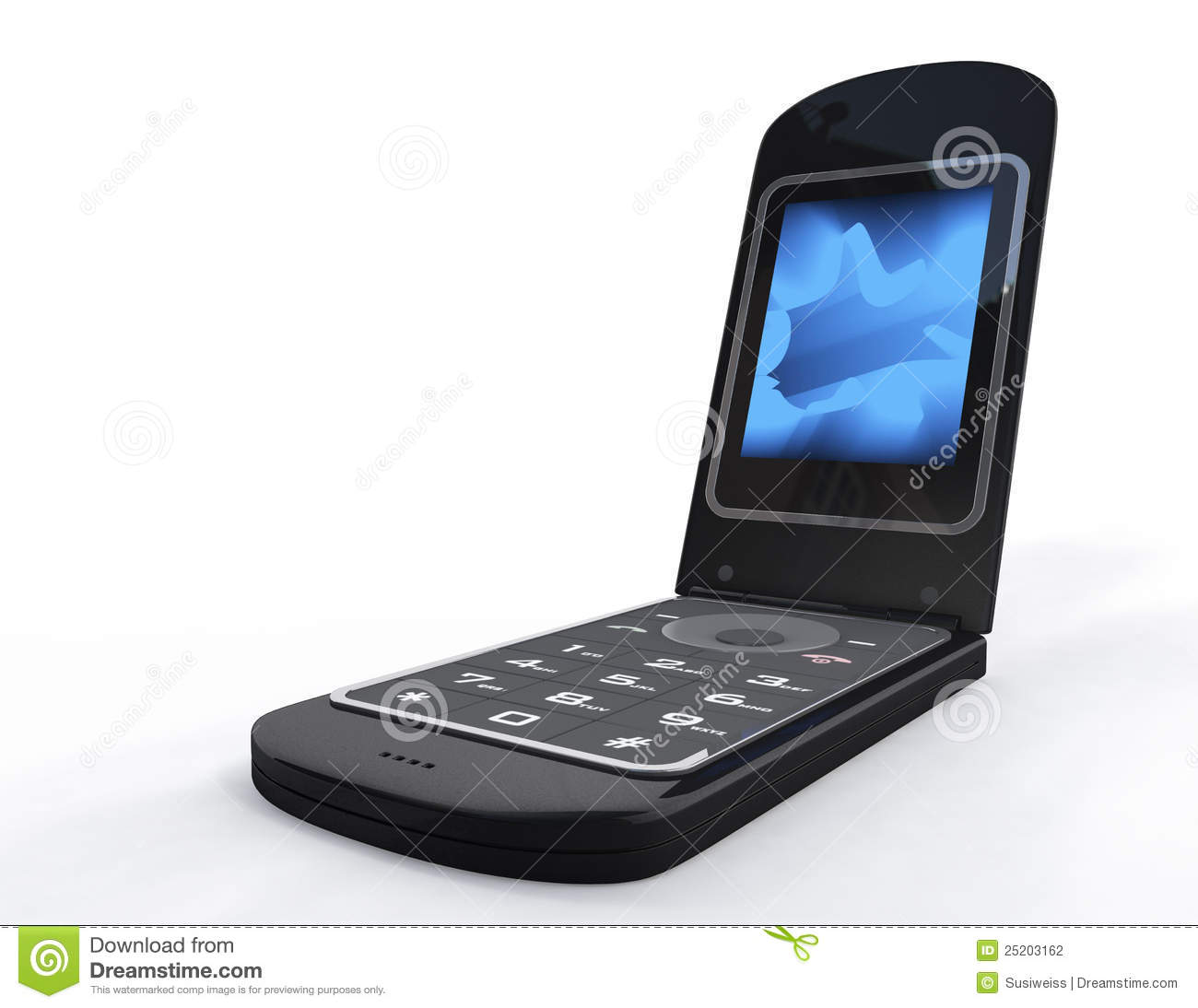 Flip Open Black Mobile Phone Stock Photography - Image: 25203162