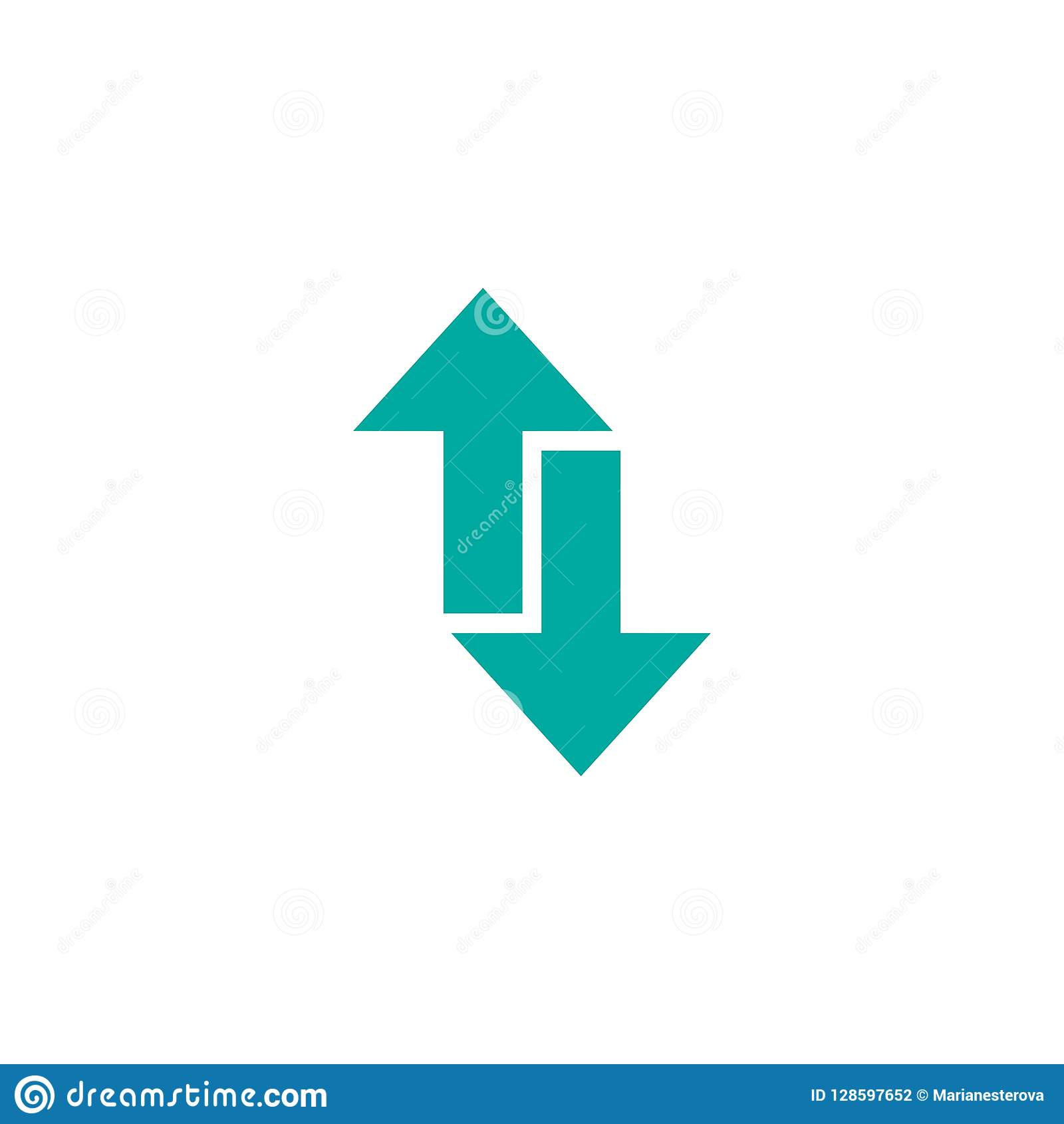 2cea5a7dc Flip Vertical vector icon. Two blue opposite sharp arrows isolated on  white. Flat icon.