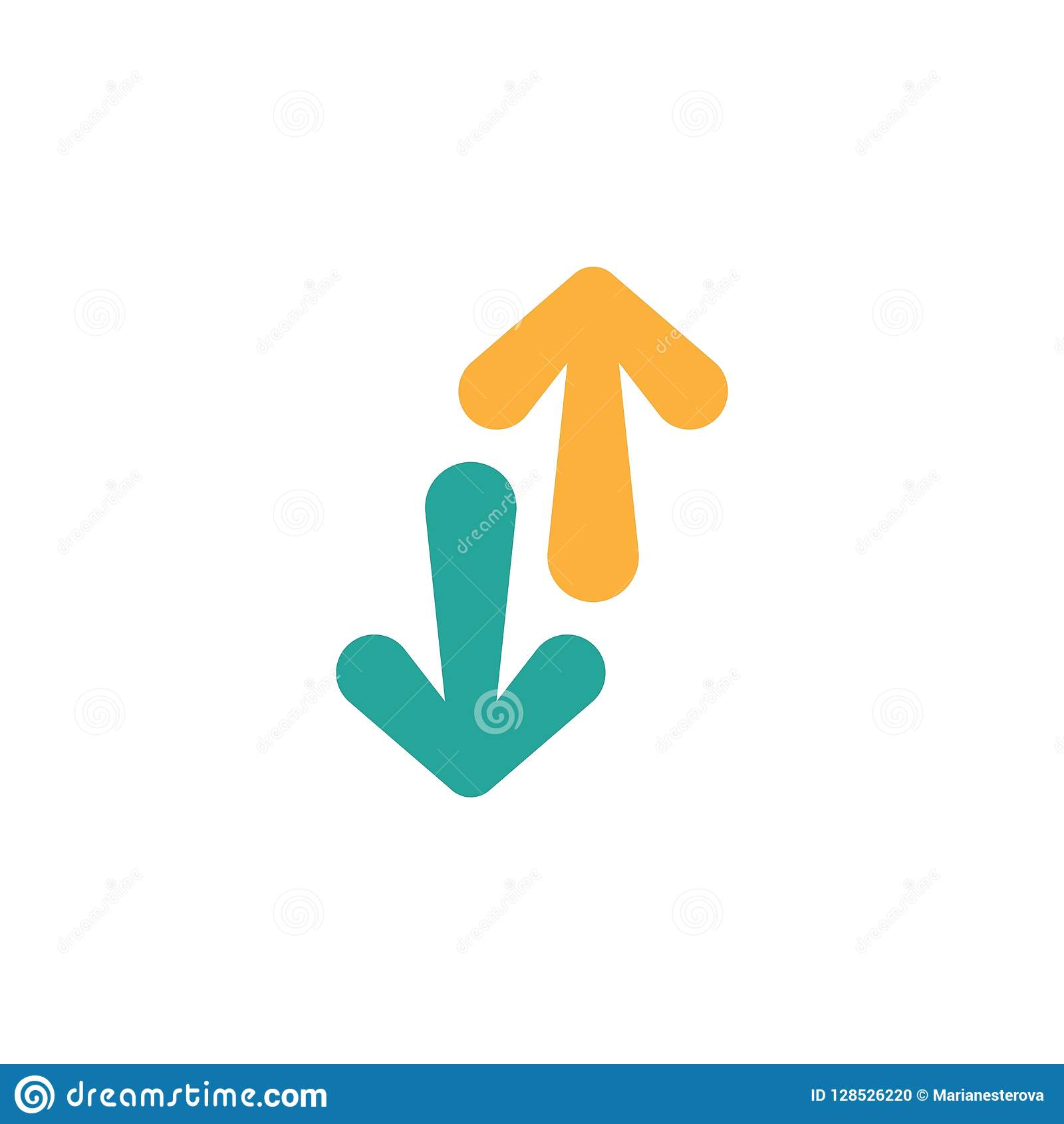 66f25bf61 Flip Vertical vector icon. two orange and blue opposite cartoon arrows  isolated on white. Flat exchange icon.