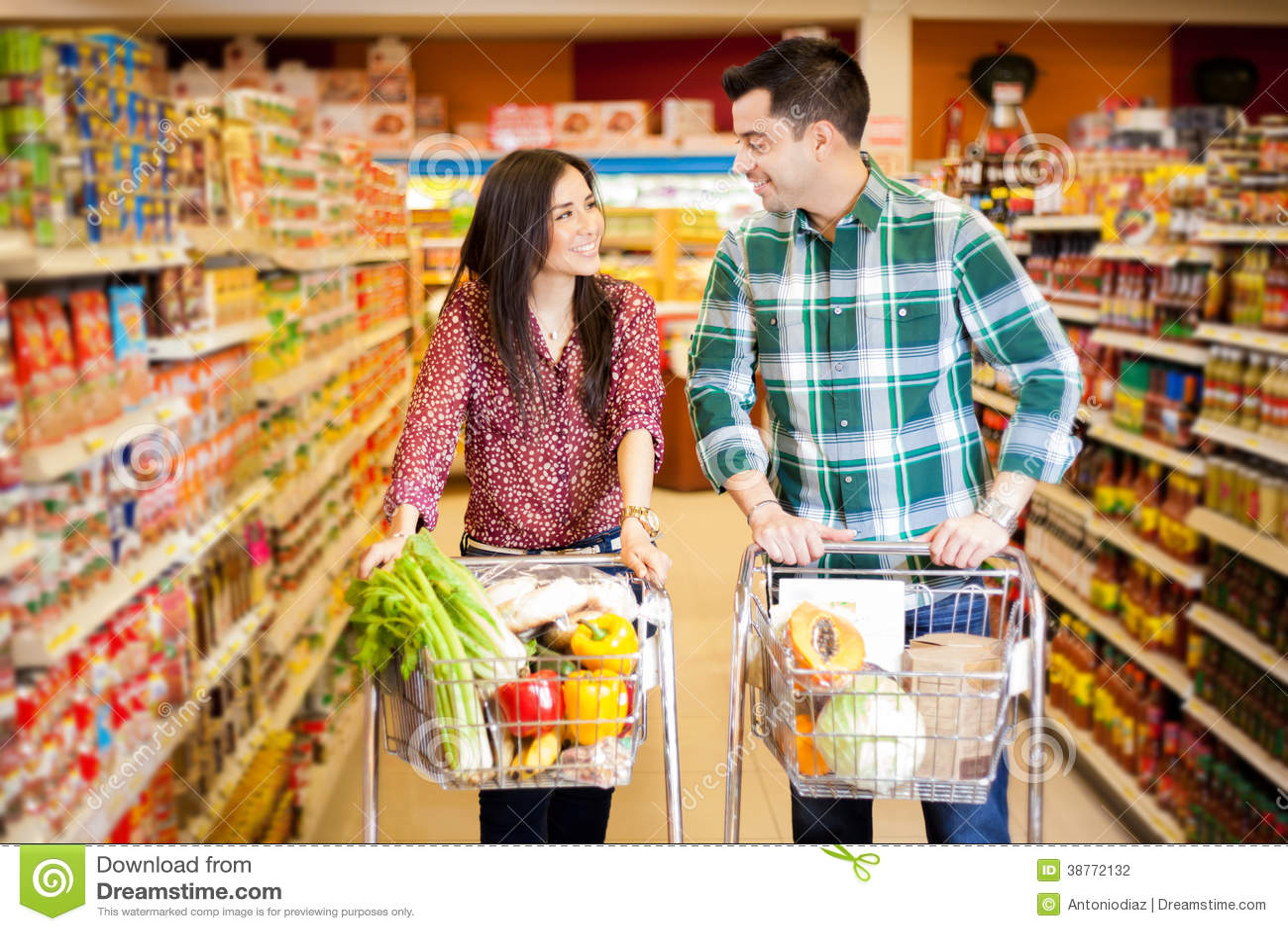 Flirting At The Supermarket Stock Photo - Image: 38772132