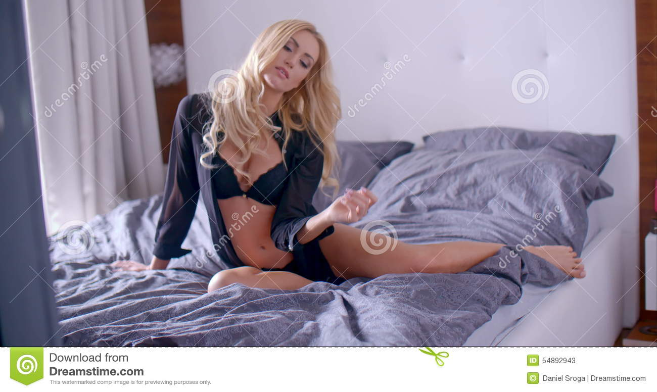 Flirty Woman In Night Wear Sitting On Bed Stock Video - Video of beautiful 049d23e06