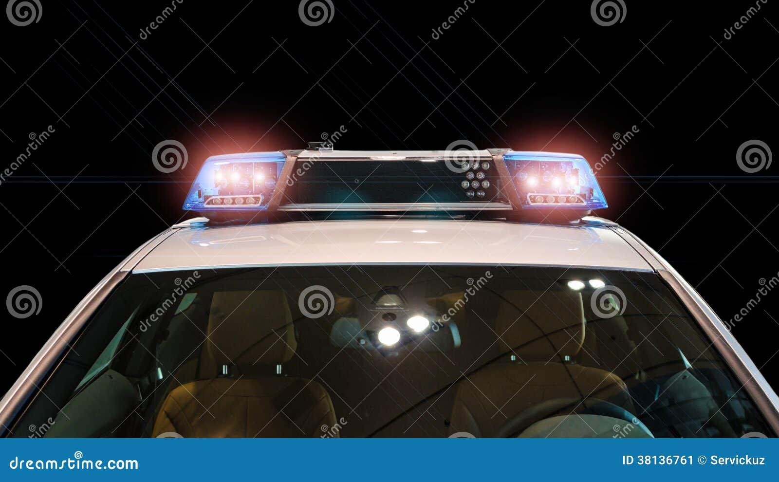Flitslichten en sirene op de politiewagen
