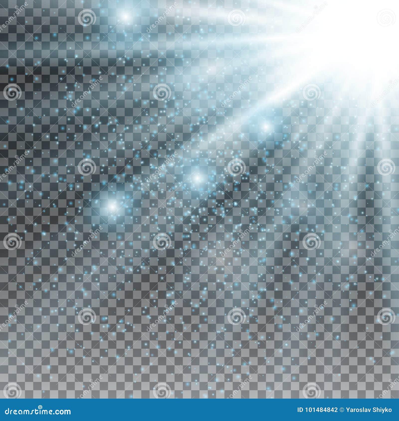 Flitsuitbarsting van sterlicht met onduidelijk beeld en het effect van de lensgloed Het glanzen zongloed Het fonkelen licht van z